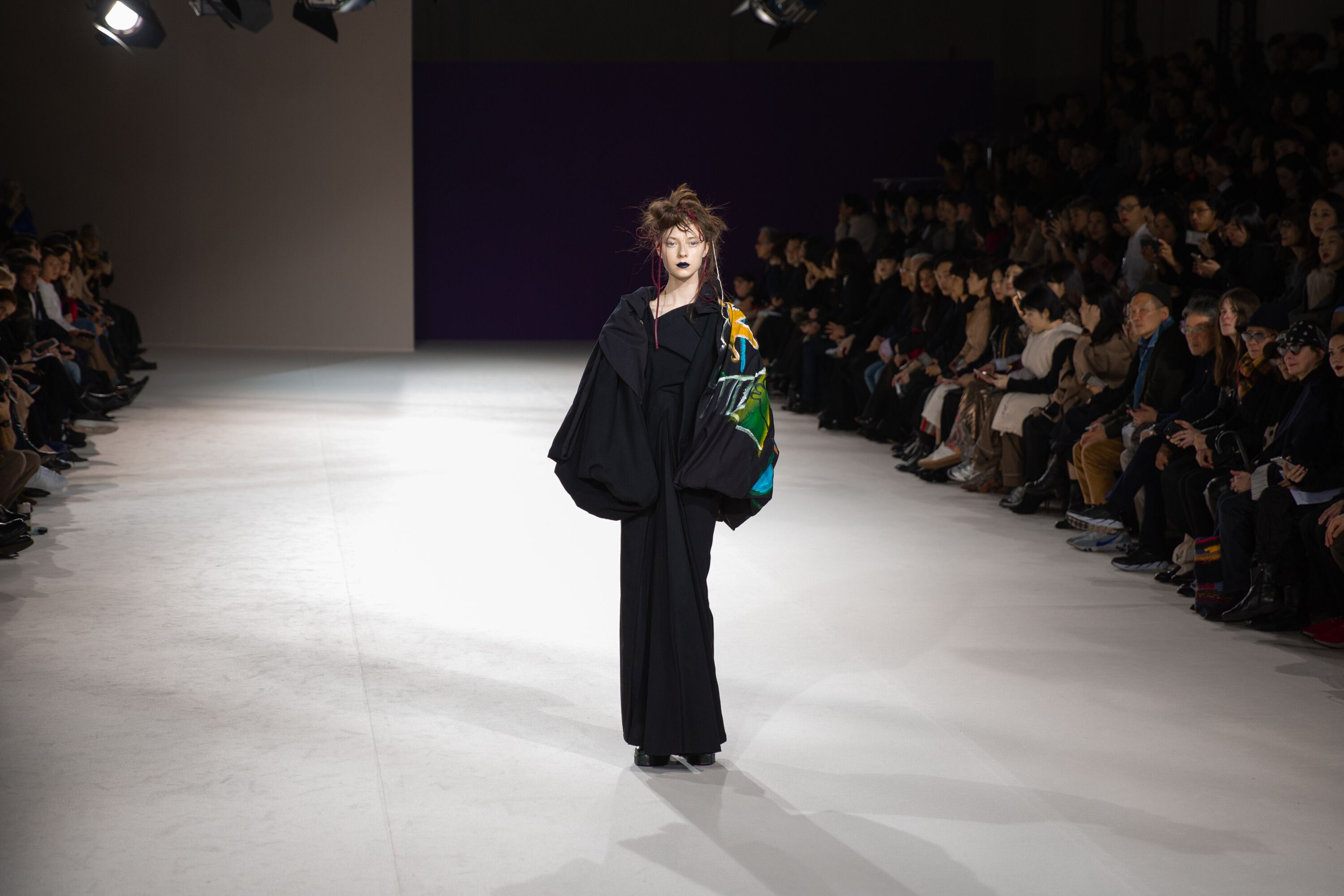 Yohji Yamamoto painted sleeve jacket paris fasion week aw19 collection
