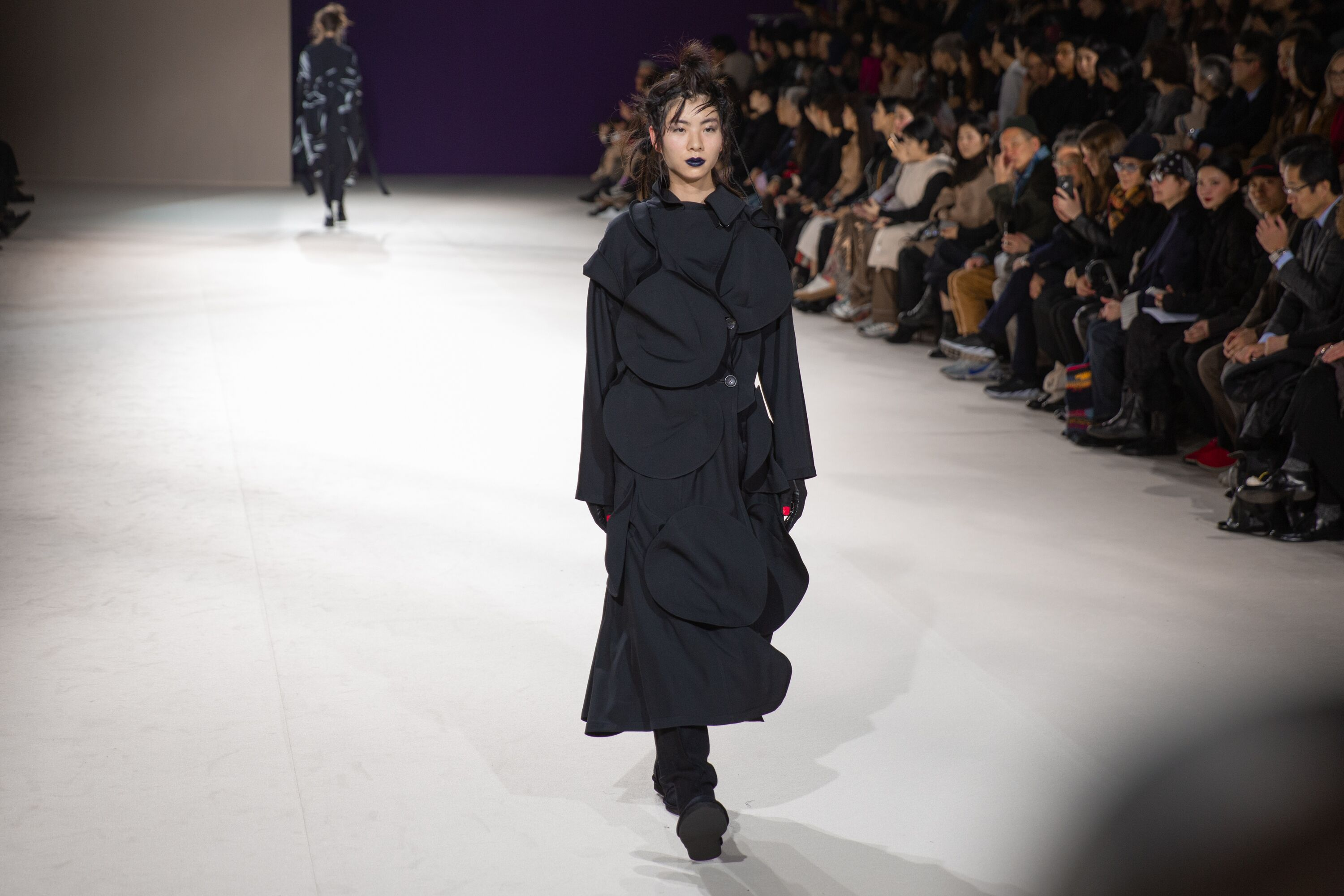 Yohji Yamamoto black textured ankle length dress aw19 paris collection