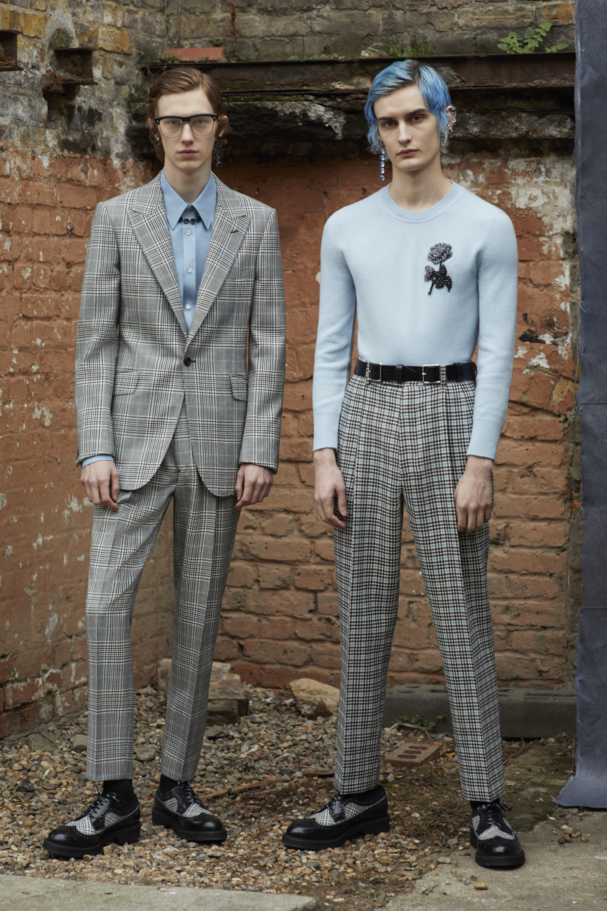 Alexander McQueen AW19 menswear check trousers and suit