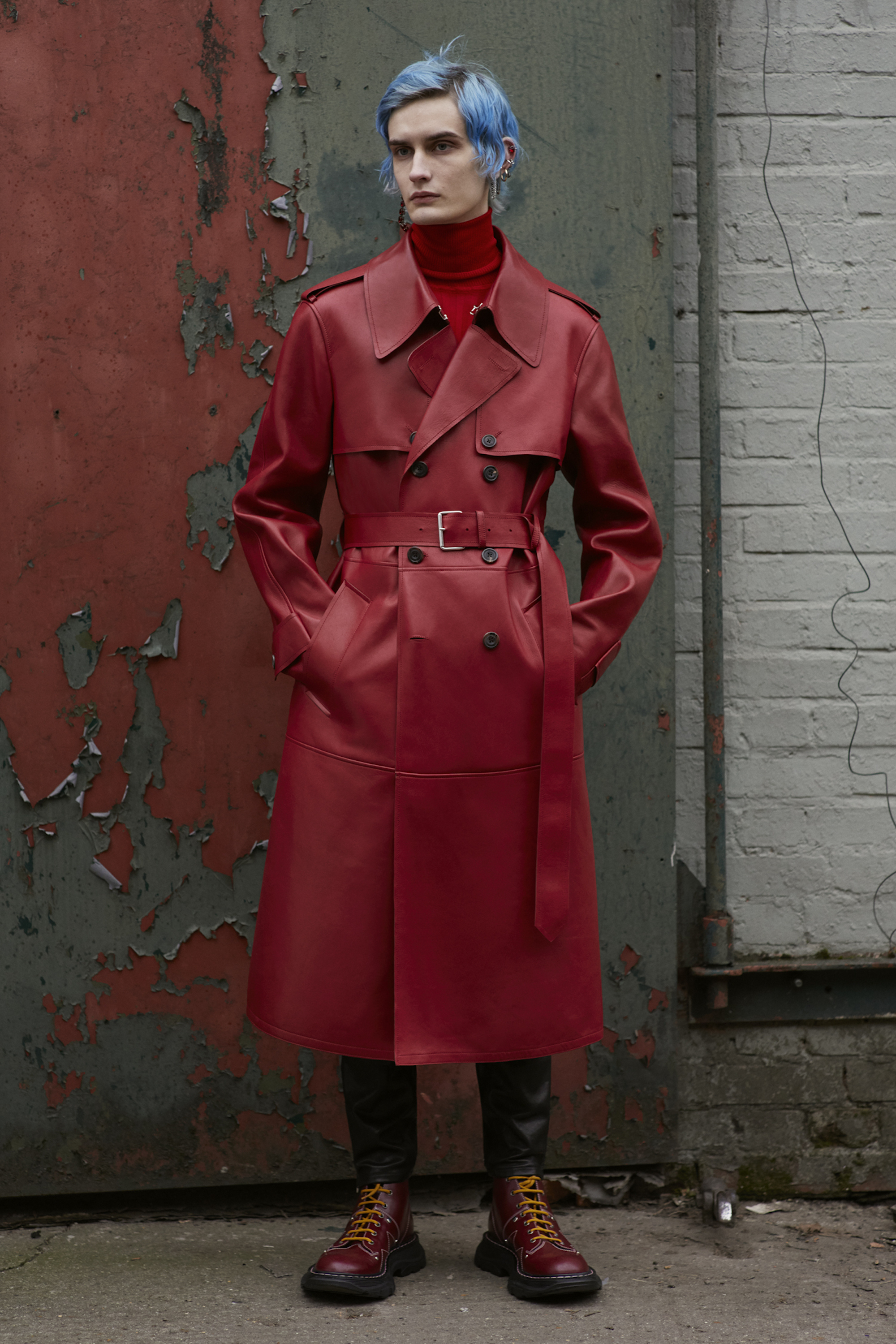 Alexander McQueen AW19 menswear red trench coat
