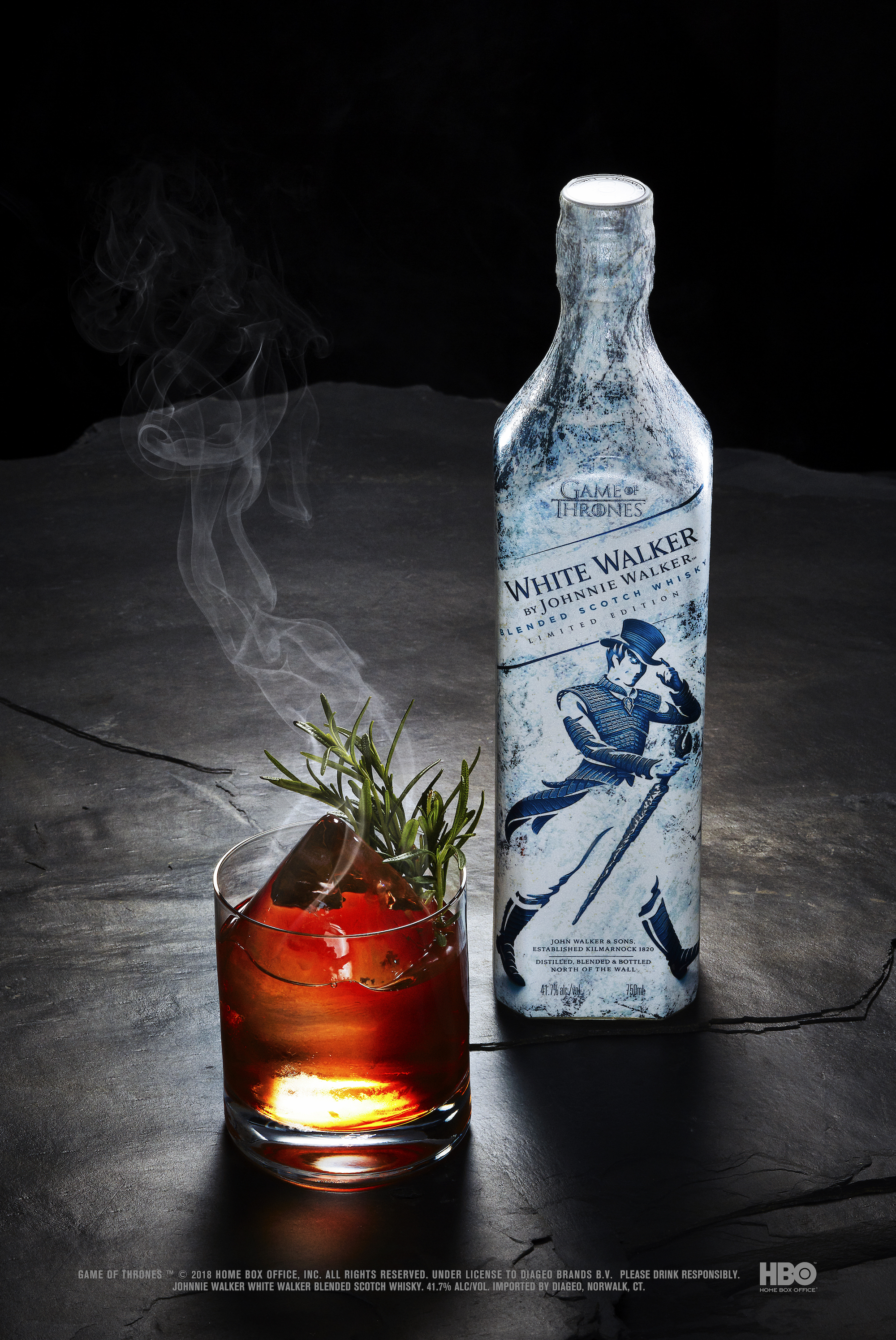 White Walker by Johnnie Walker Dragonglass Old Fashioned serve with bottle