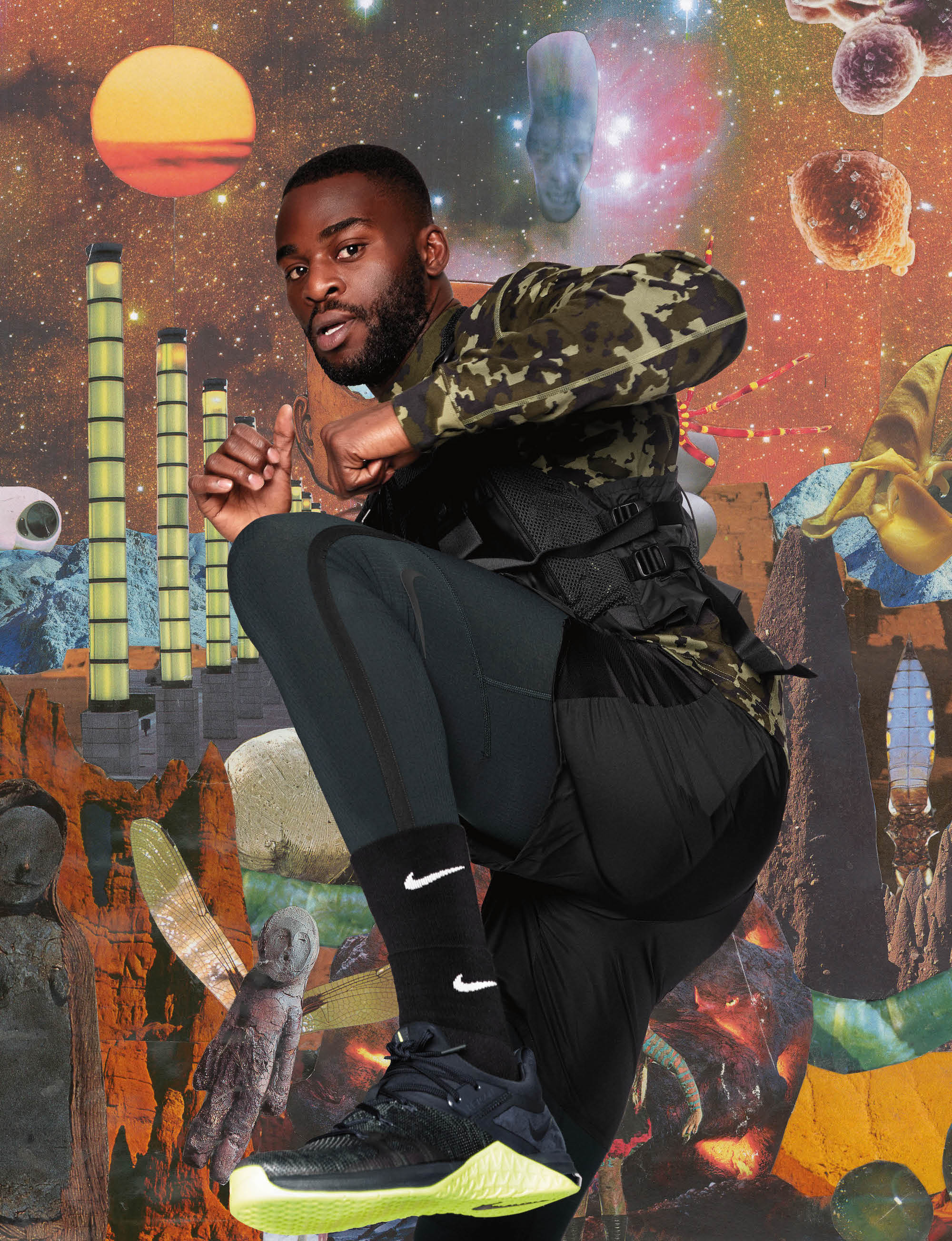 Nike approved boxer Joshua Buatsi from Spring 19 issue of Wonderland high kick