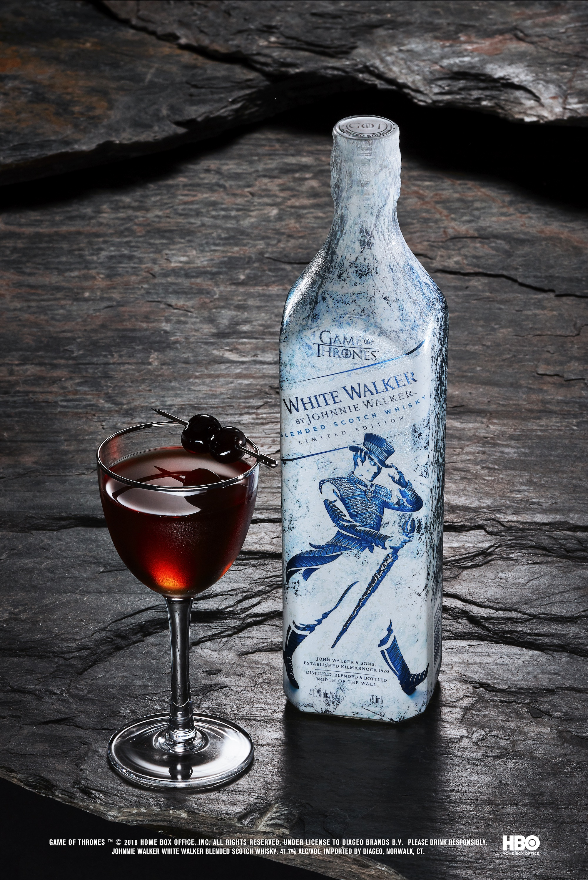 White Walker by Johnny Walker Sword in the Darkness serve with bottle