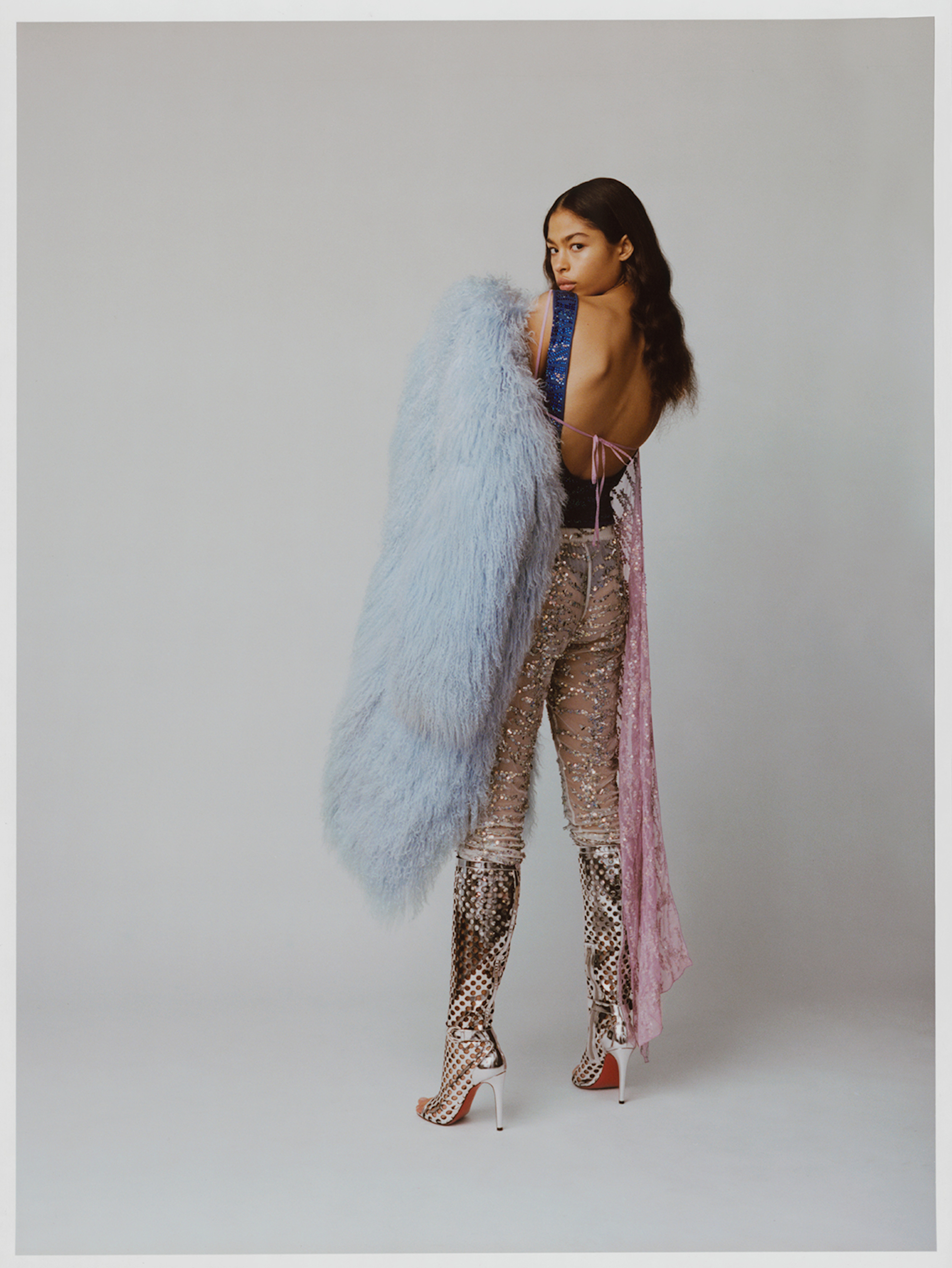 Astral angel fashion editorial sequin trousers