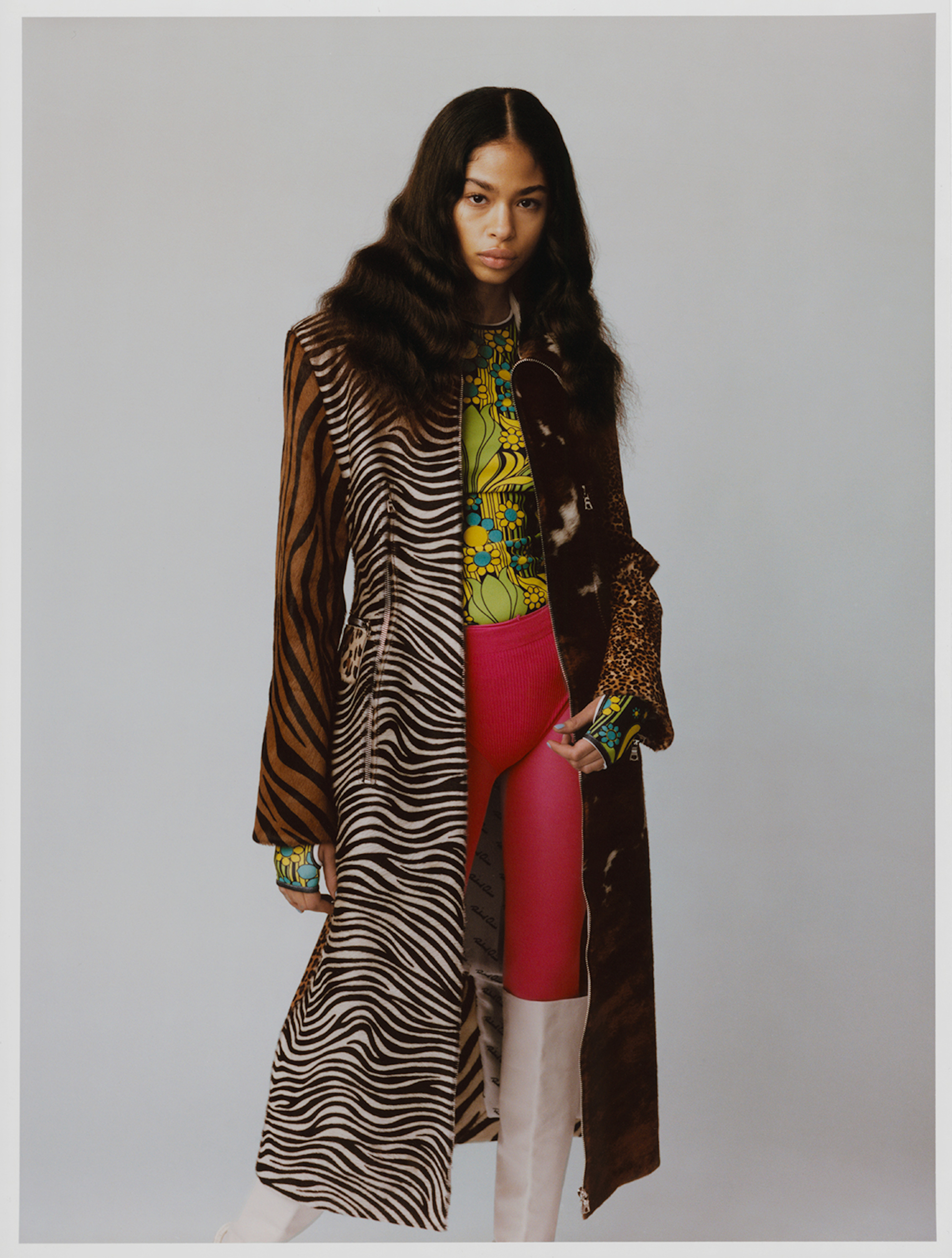 Astral angel fashion editorial animal print coat