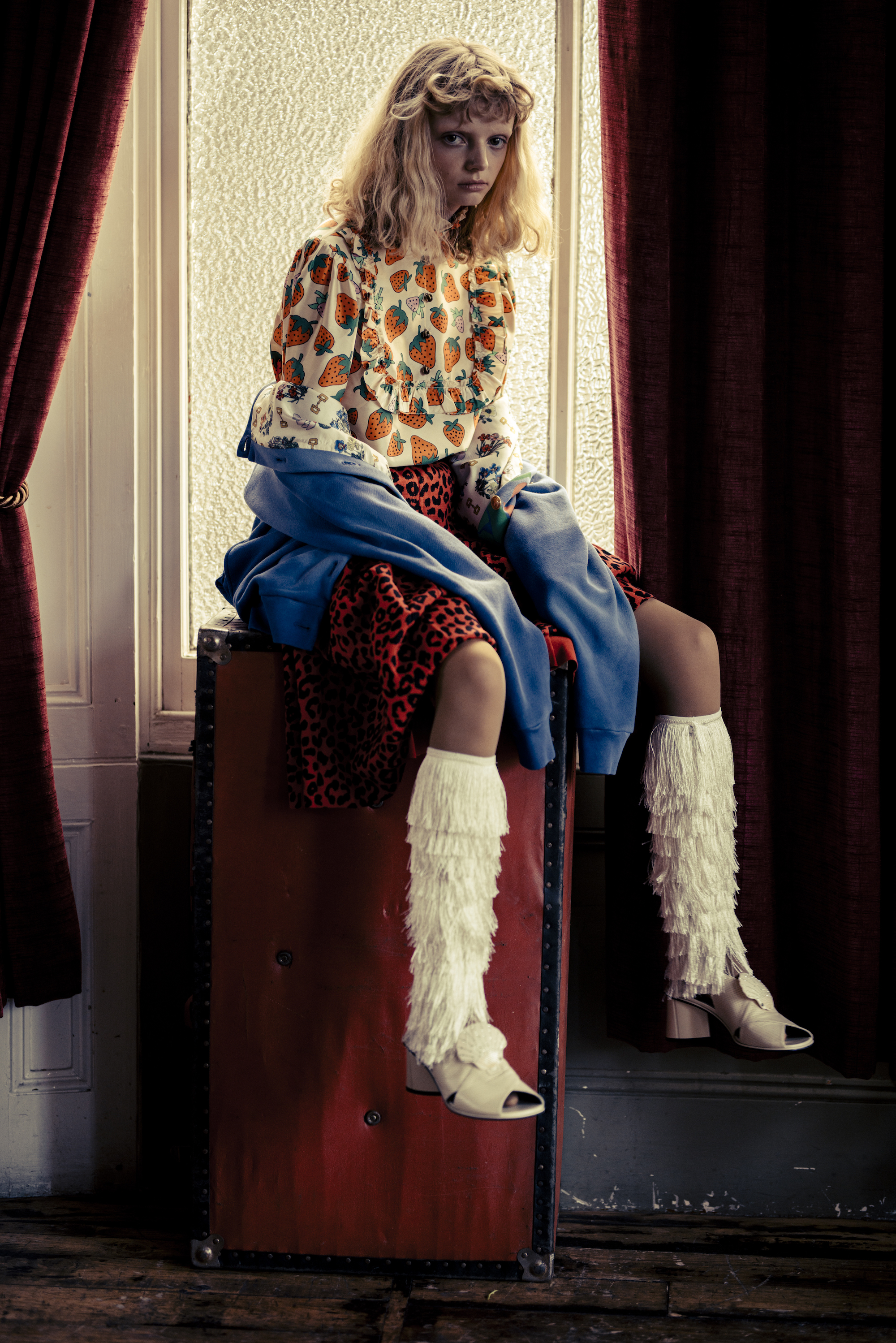 Gucci fashion editorial in the Spring 19 issue of Wonderland model in tassel boots