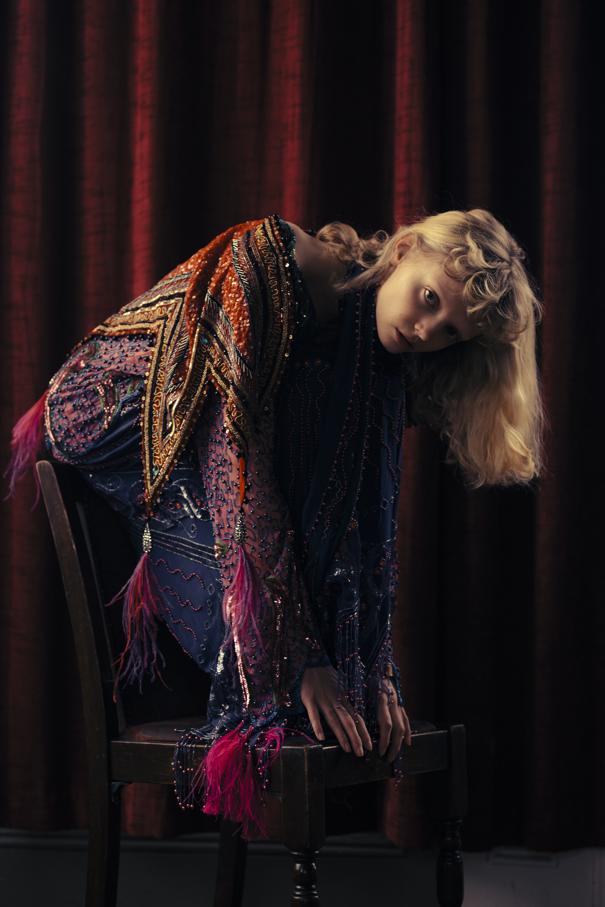 Gucci fashion editorial in the Spring 19 issue of Wonderland model in sequin dress