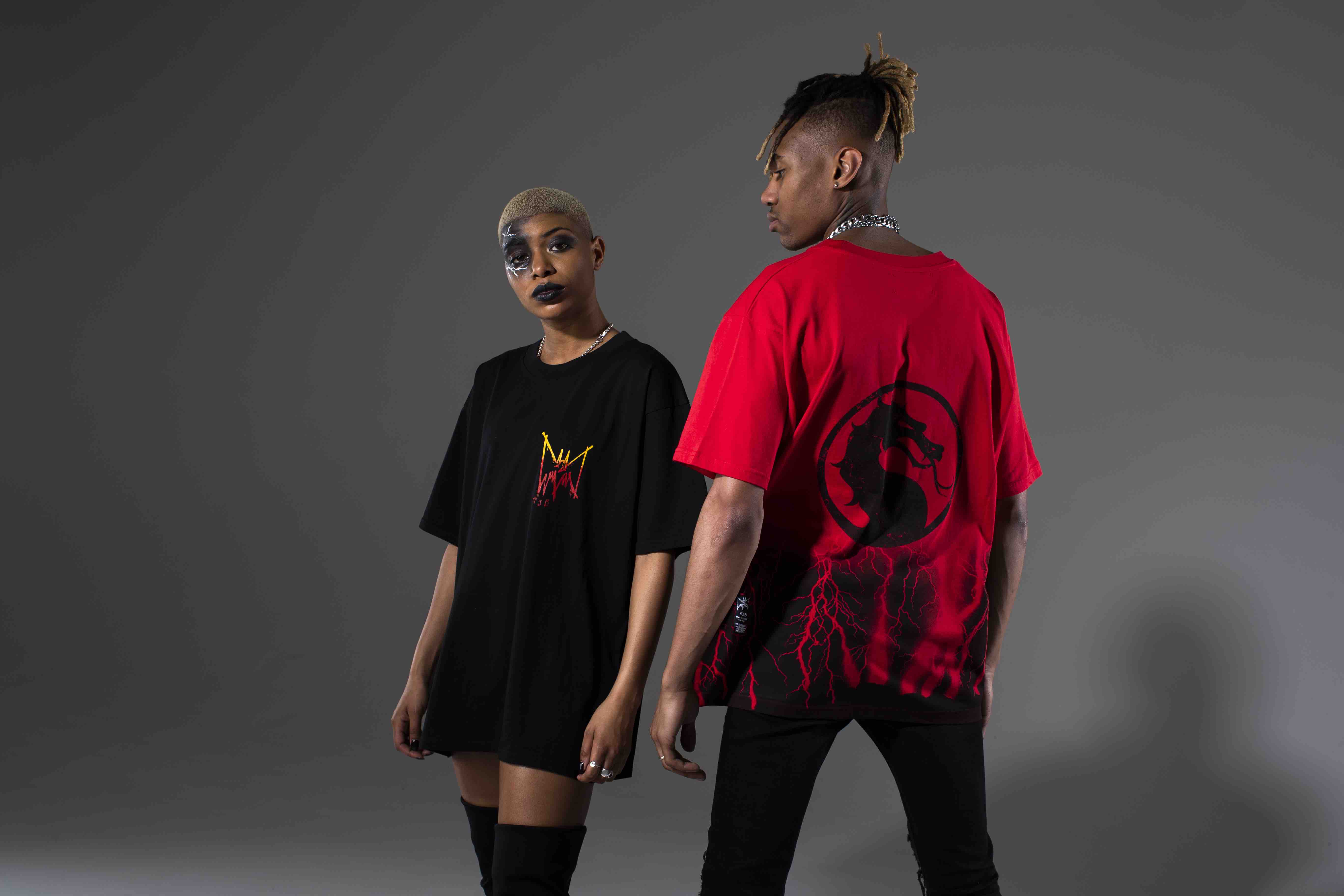 Marc Jacques Burton Mortal Kombat clothing line oversized red and black tshirts