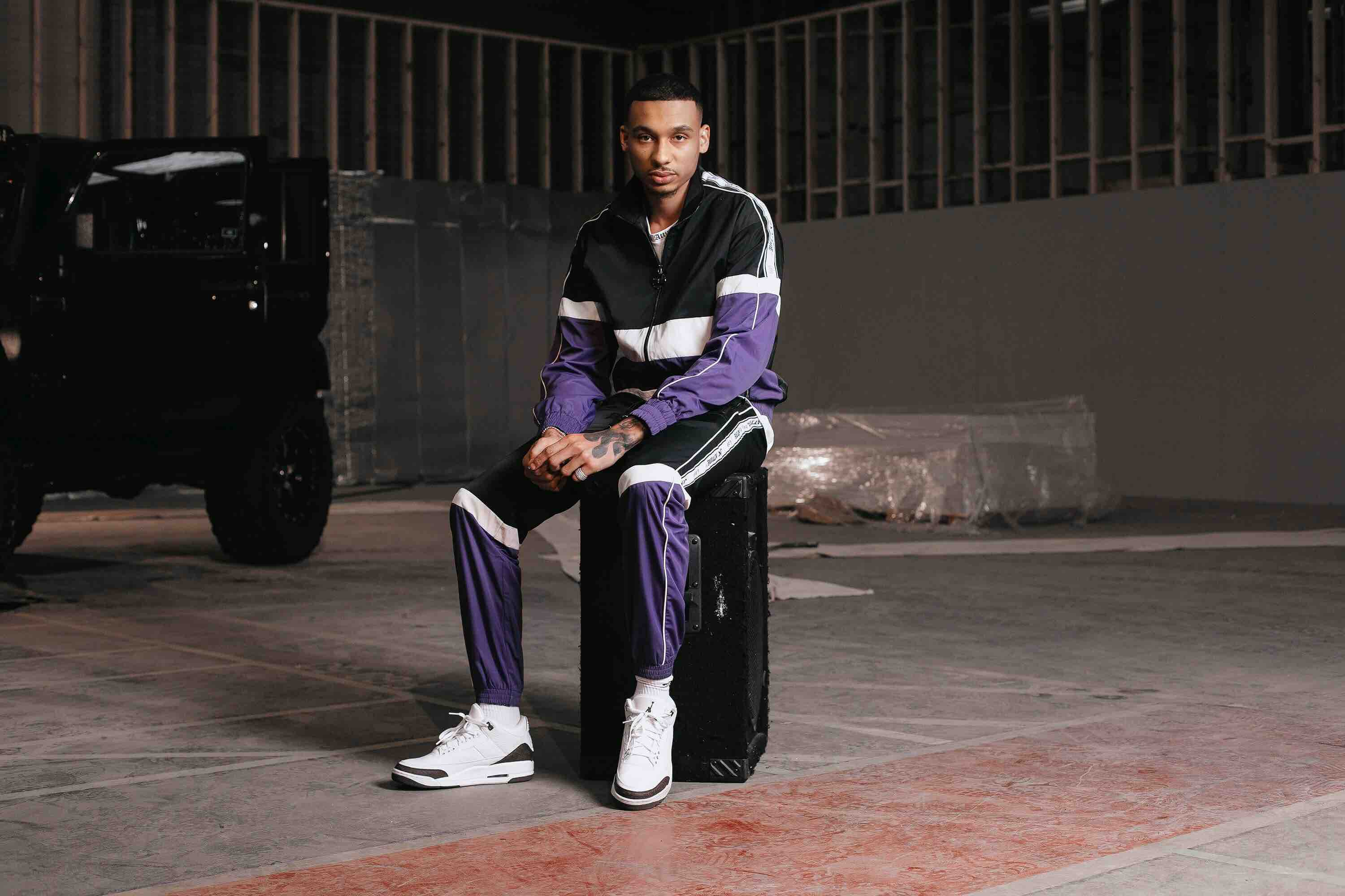 JK Attire Fredo SS19 collaboration purple tracksuit