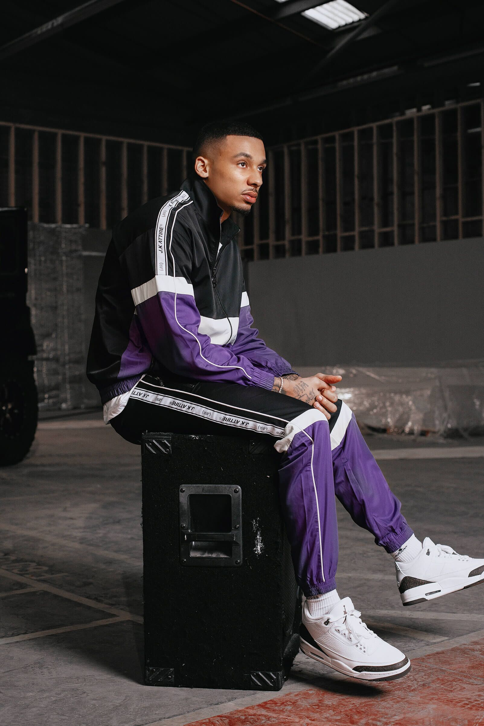 JK Attire Fredo SS19 collection purple tracksuit