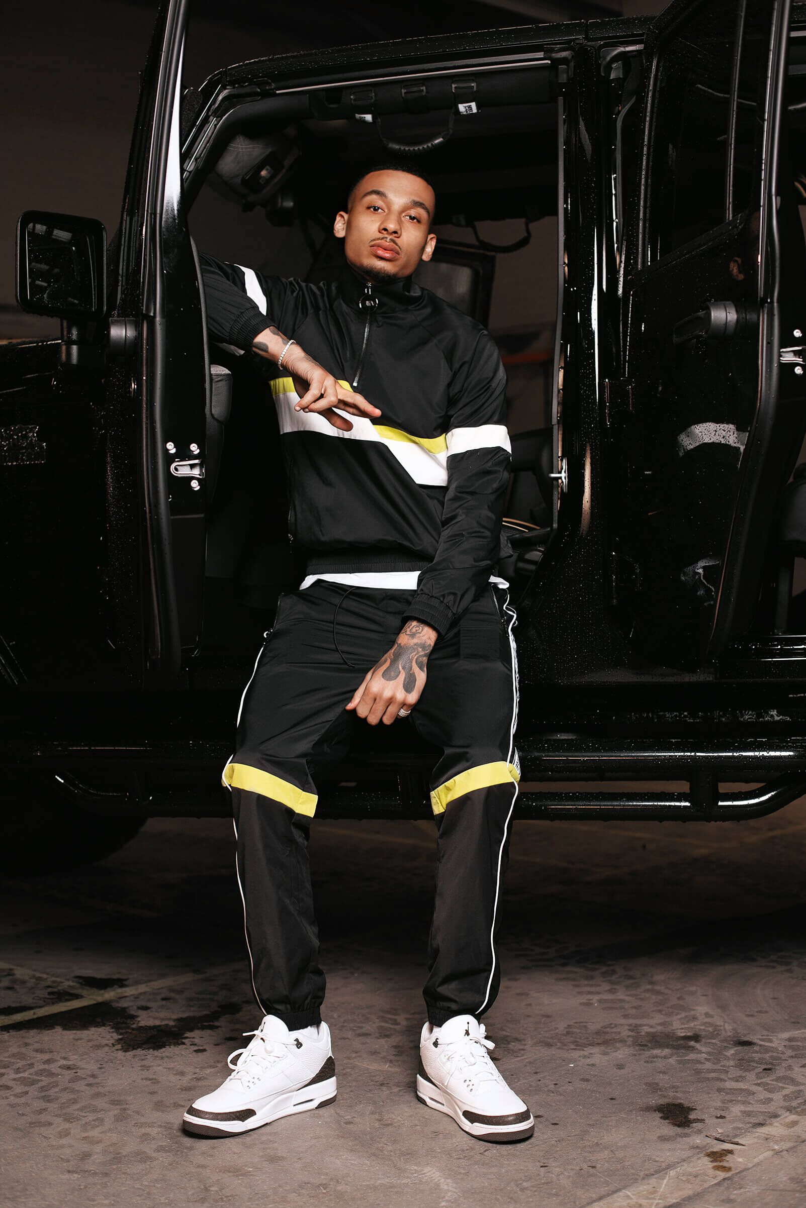 JK Attire Fredo SS19 collaboration neon highlight tracksuit