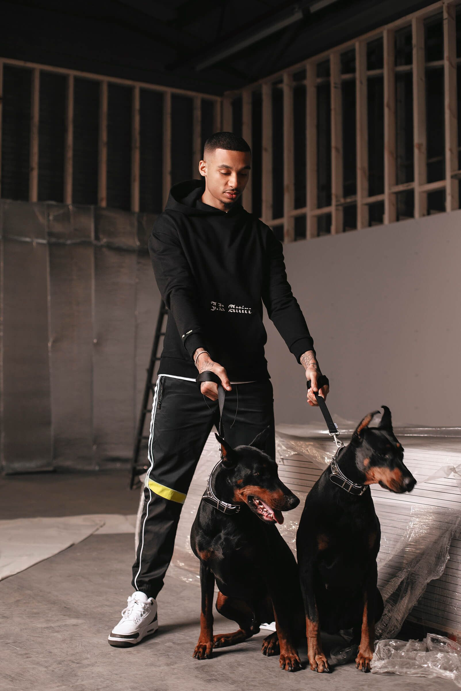 JK Attire Fredo SS19 campaign shoot tracksuit with dogs