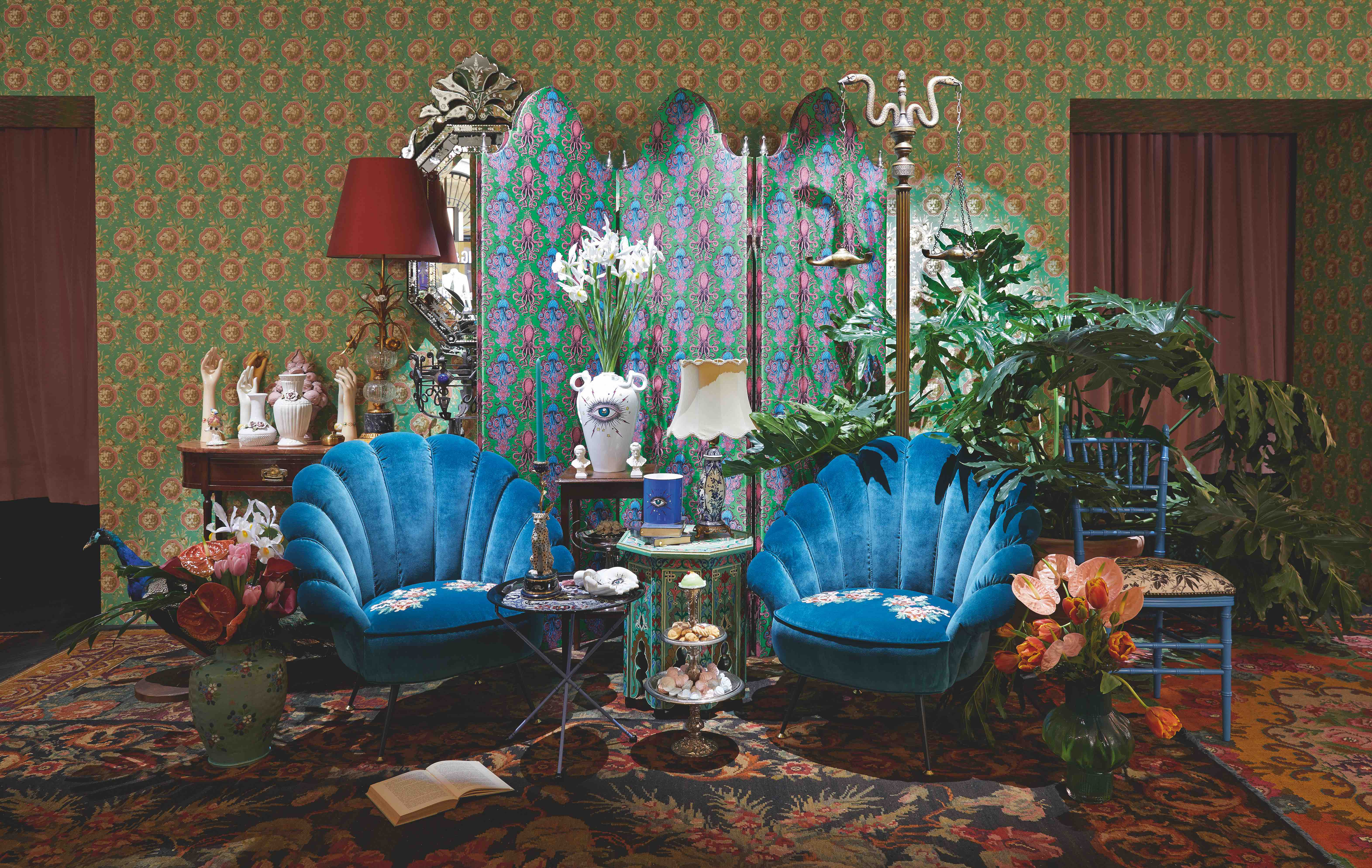blue velvet chairs Gucci homeware pop-up Milan