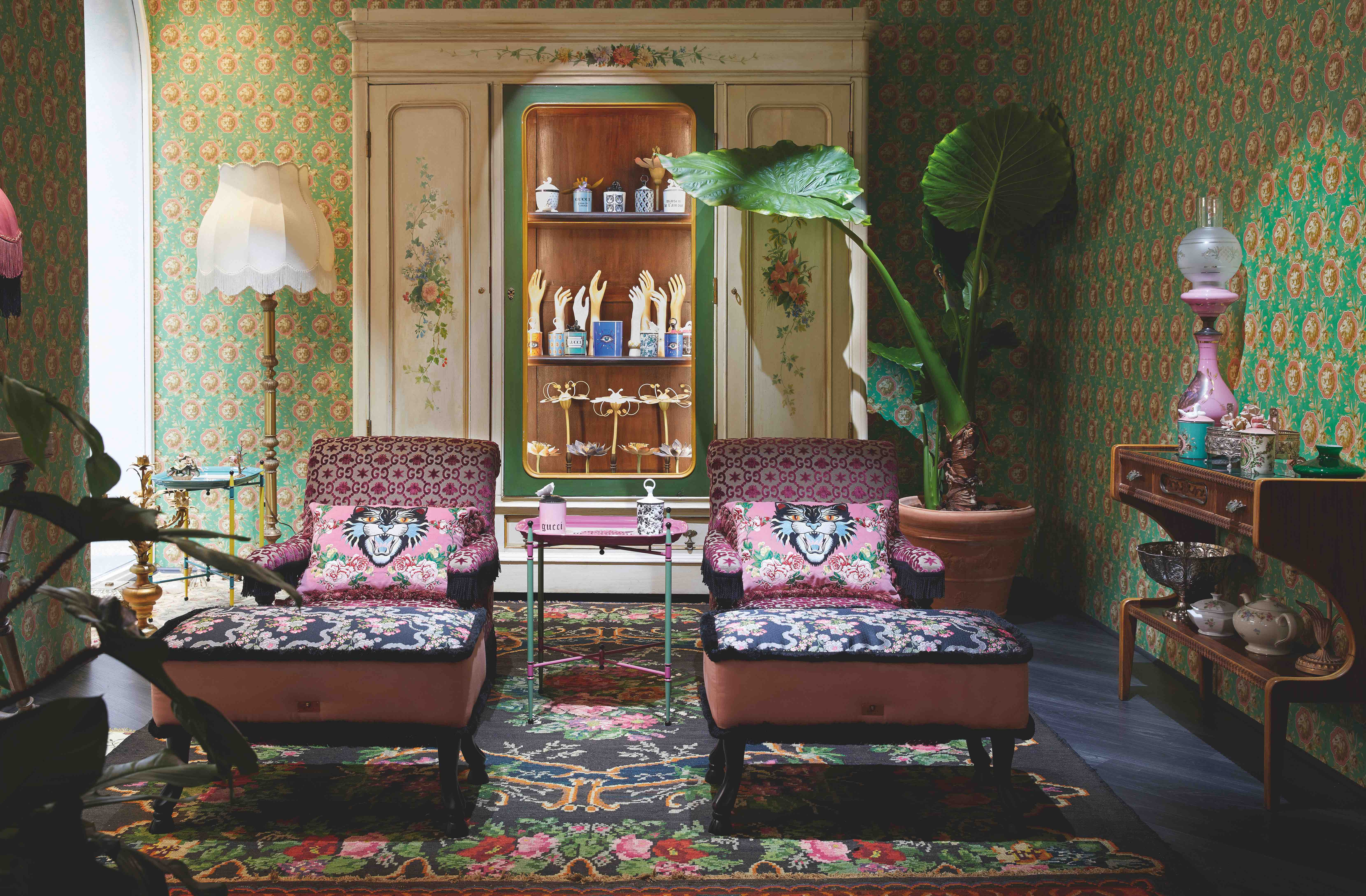 Gucci homeware pop-up Milan Design week chairs