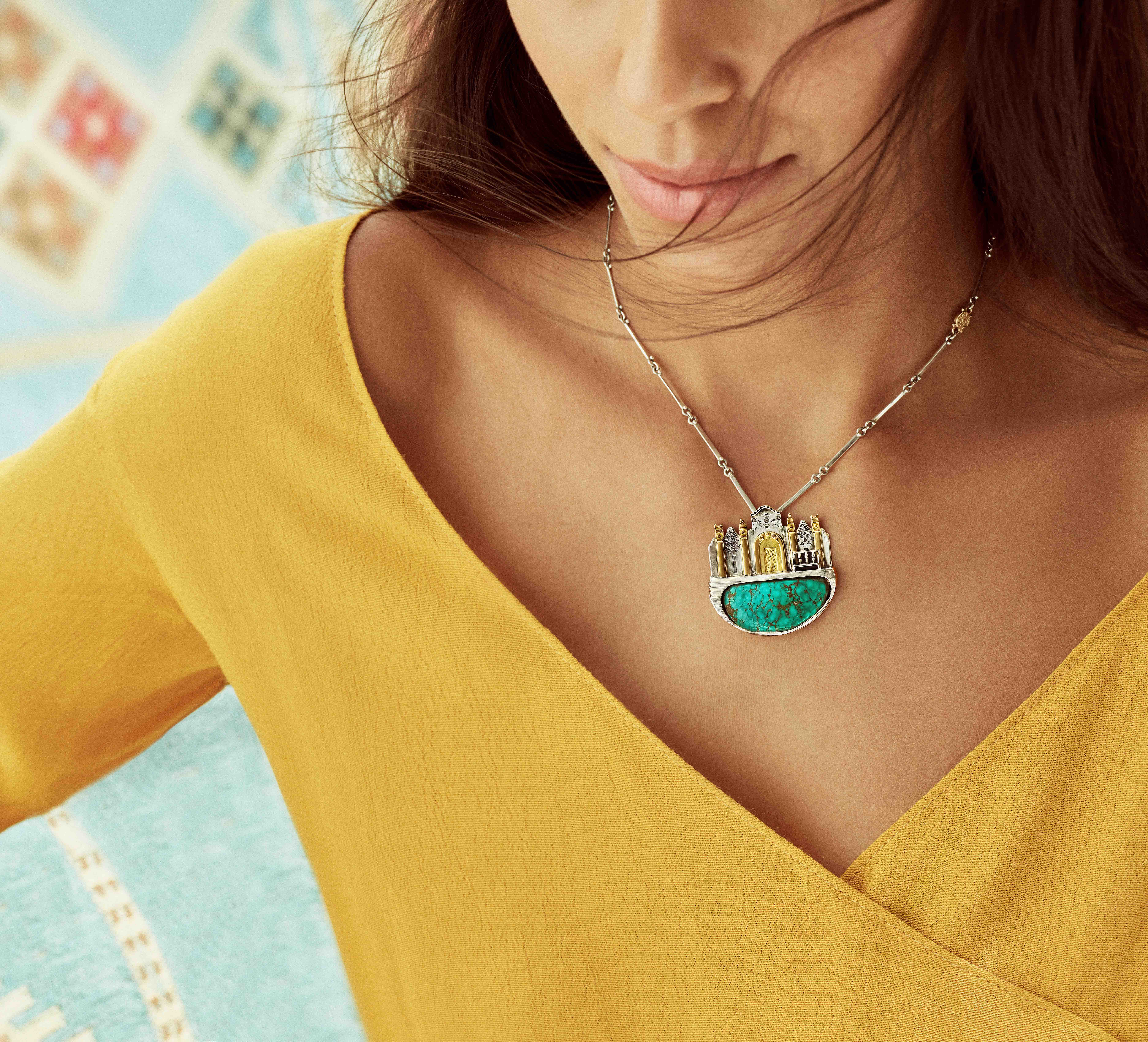 Azza Fahmy Jewellery Nubia collection turquoise necklace