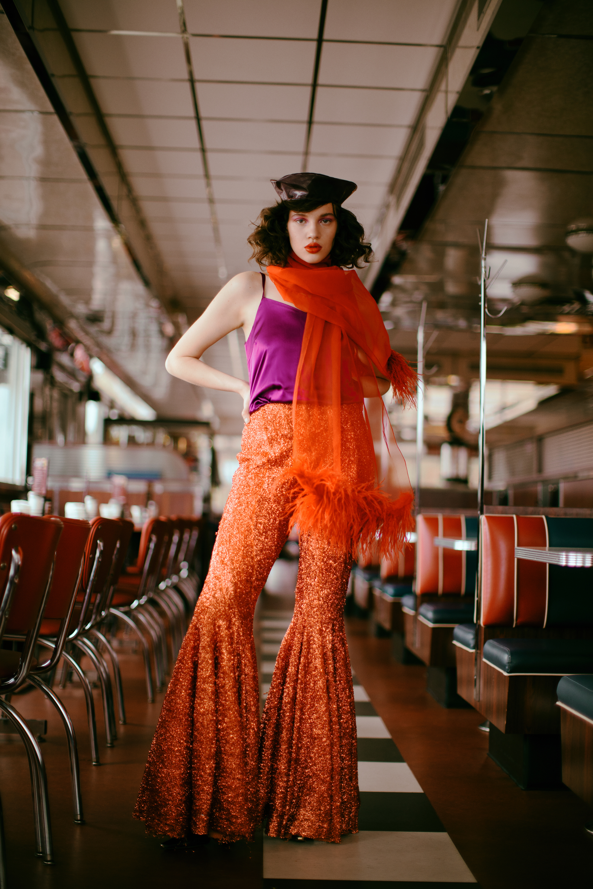 A rush to the head fashion editorial orange trousers