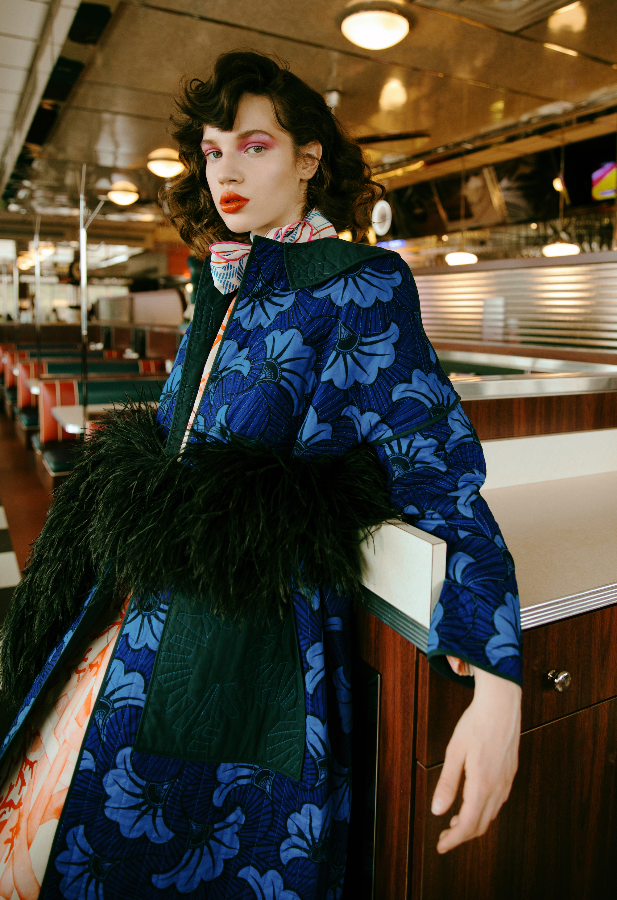 A rush to the head fashion editorial blue coat