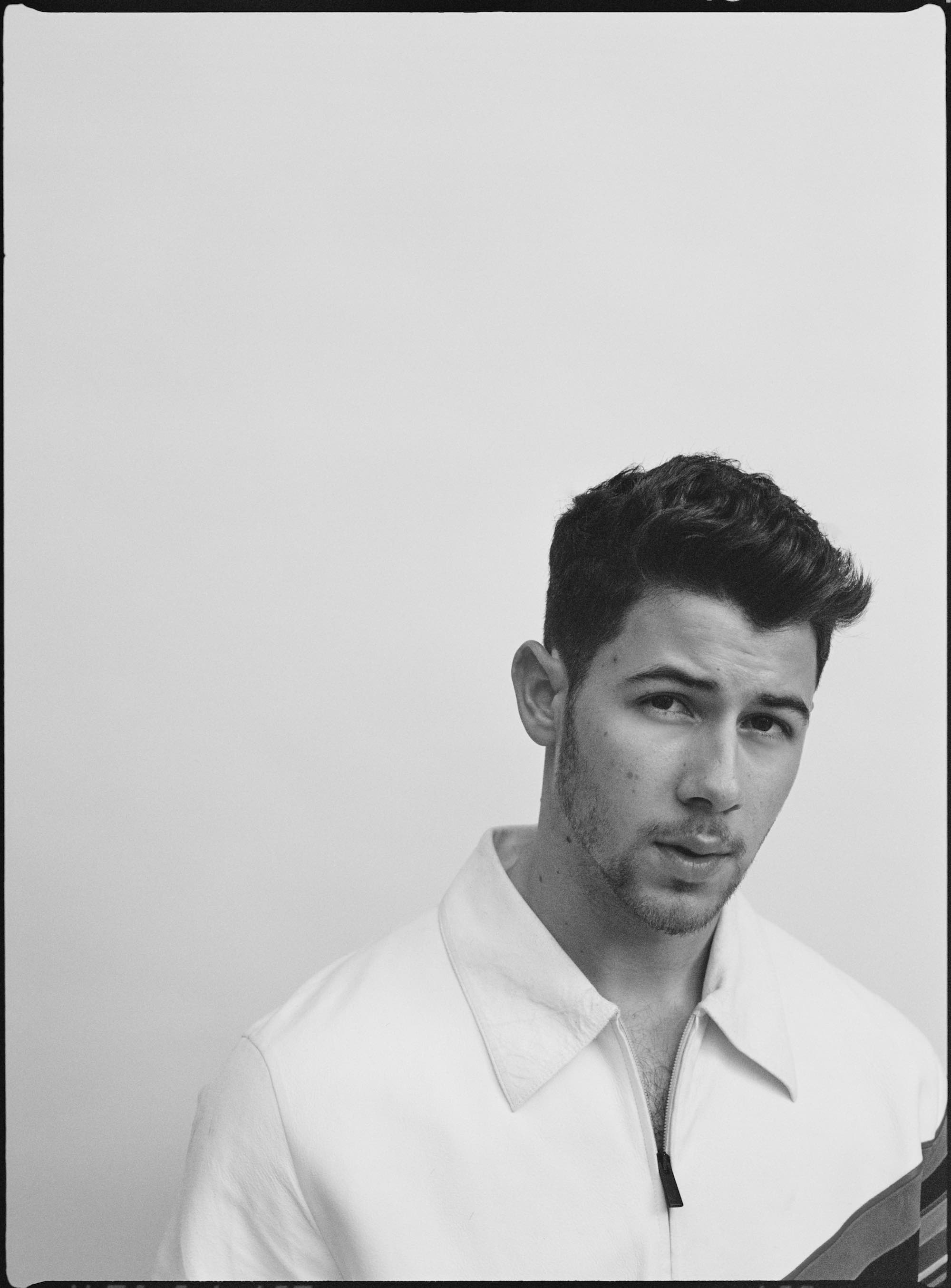 Jonas Brothers for the Summer 2019 cover of Wonderland Nick Jonas black and white