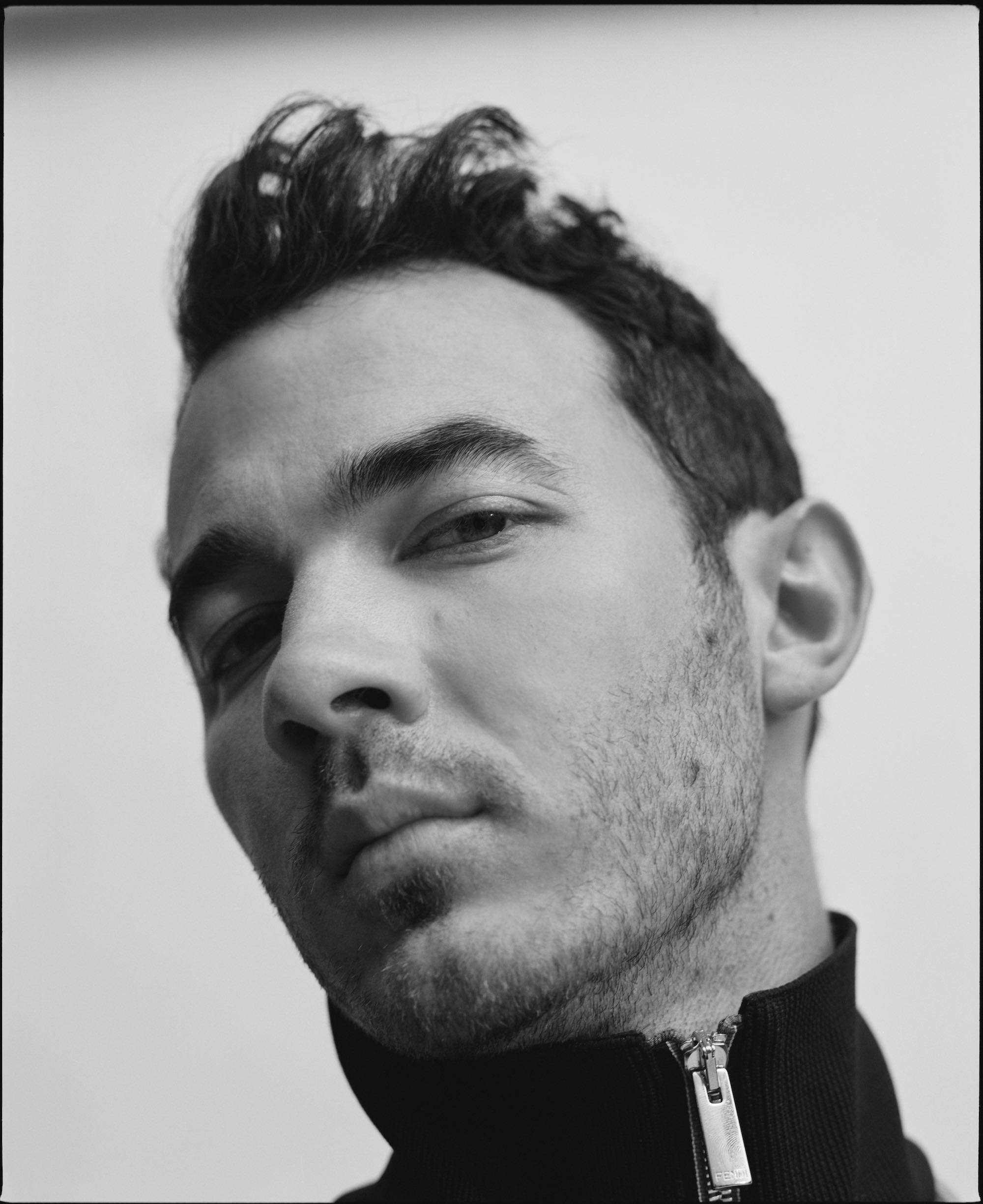 Jonas Brothers for the Summer 2019 cover of Wonderland Nick Jonas black and white closeup