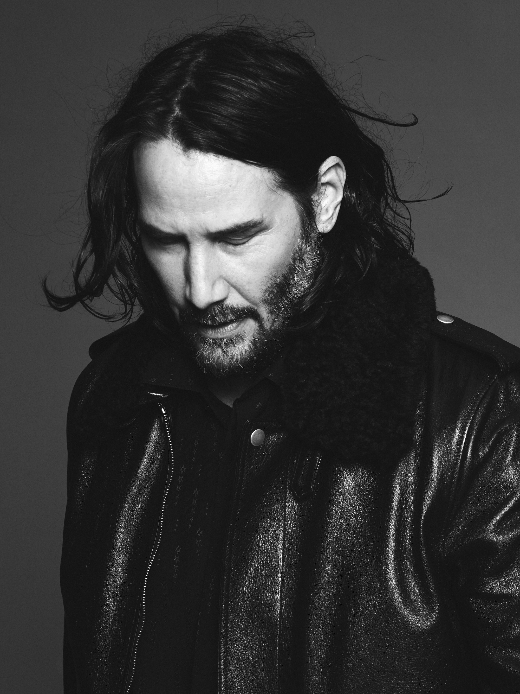 Keanu Reeves is the face of Saint Laurent Fall 2019 menswear campaign aviator jacket