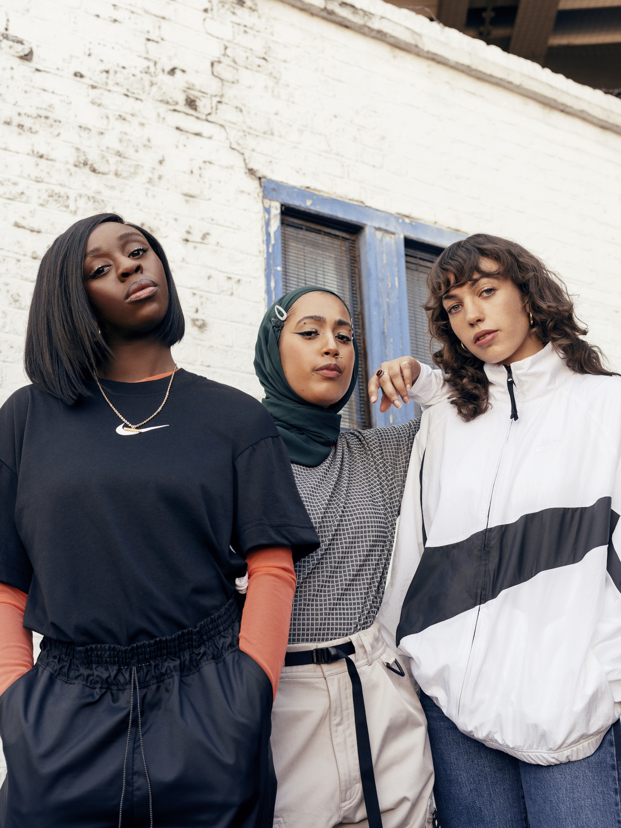 photographer Lauren Maccabee, stylist and journalist Bemi Shaw, and makeup artist Salwa Rahman for Nike React Element 55