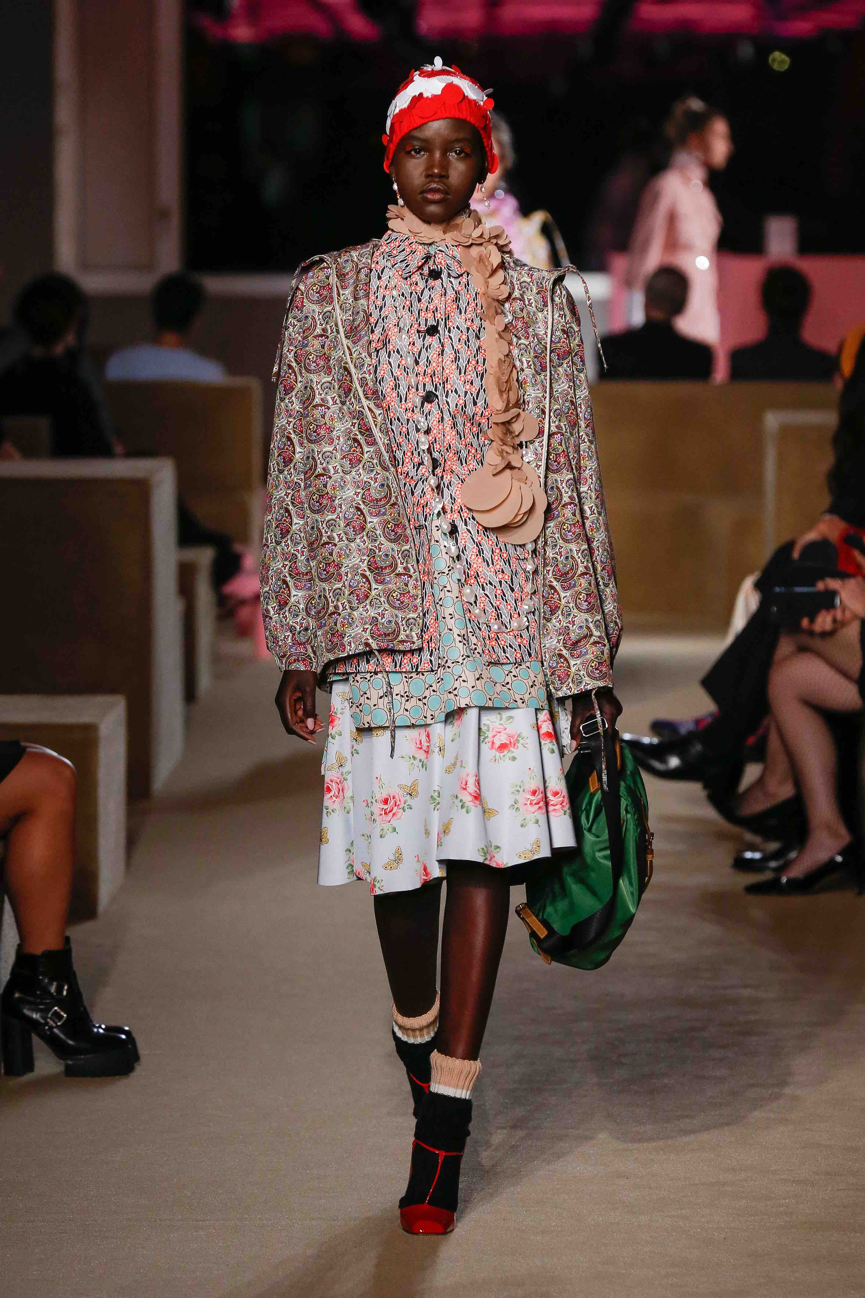 prada resort 2020 floral print look