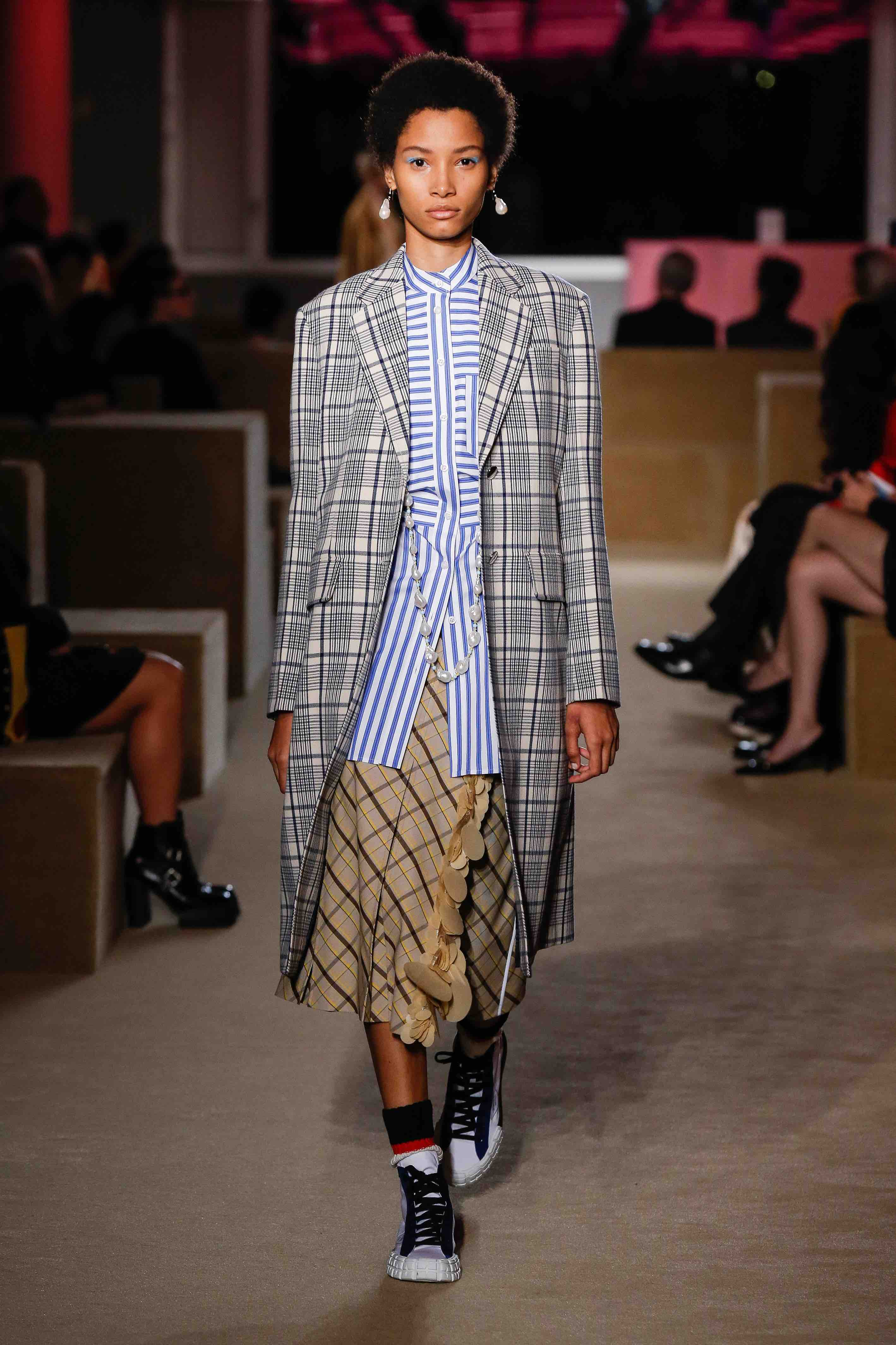 prada resort 2020 runway striped shirt