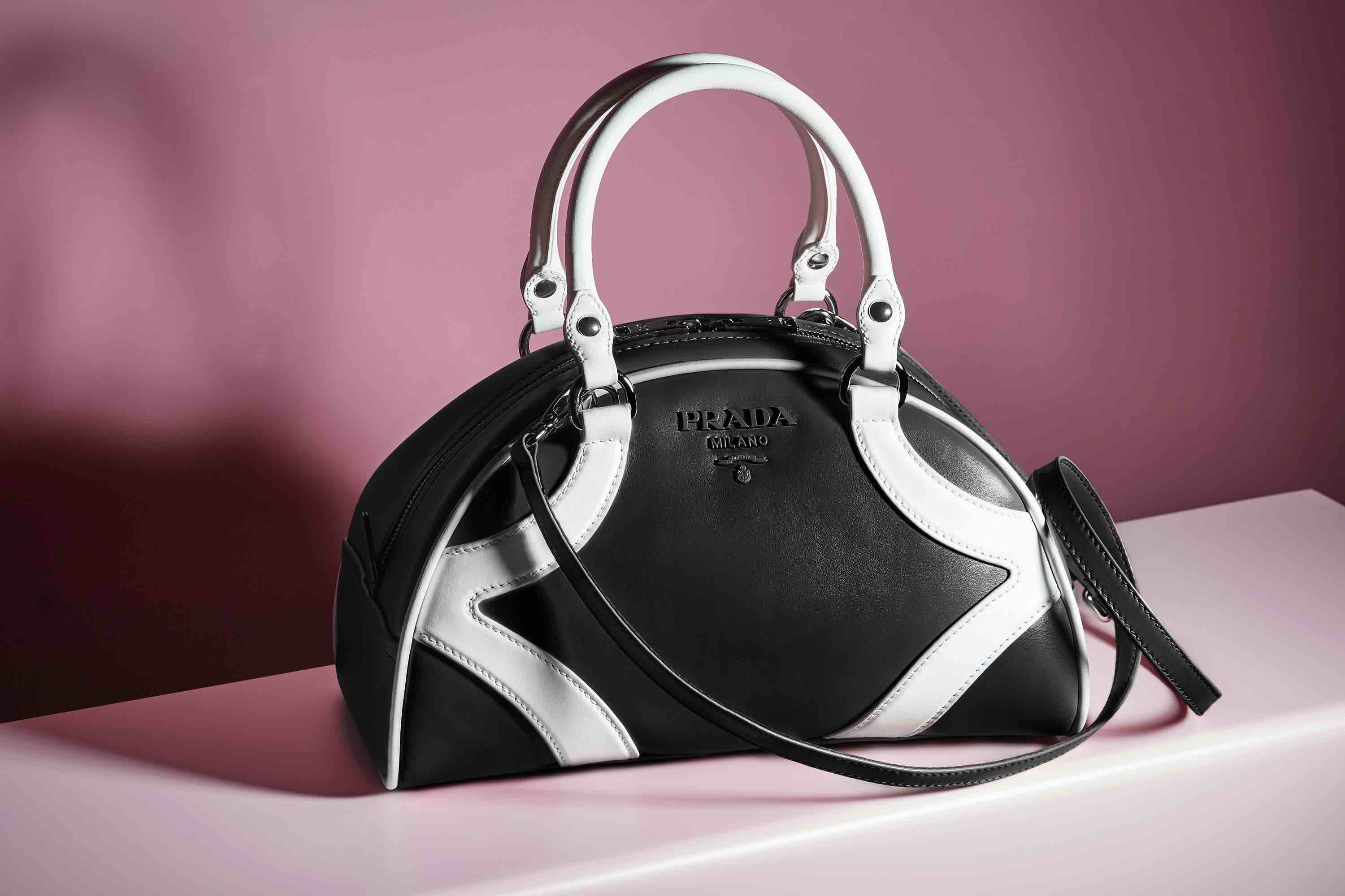Prada bowling bag resort 2020 collection black and white