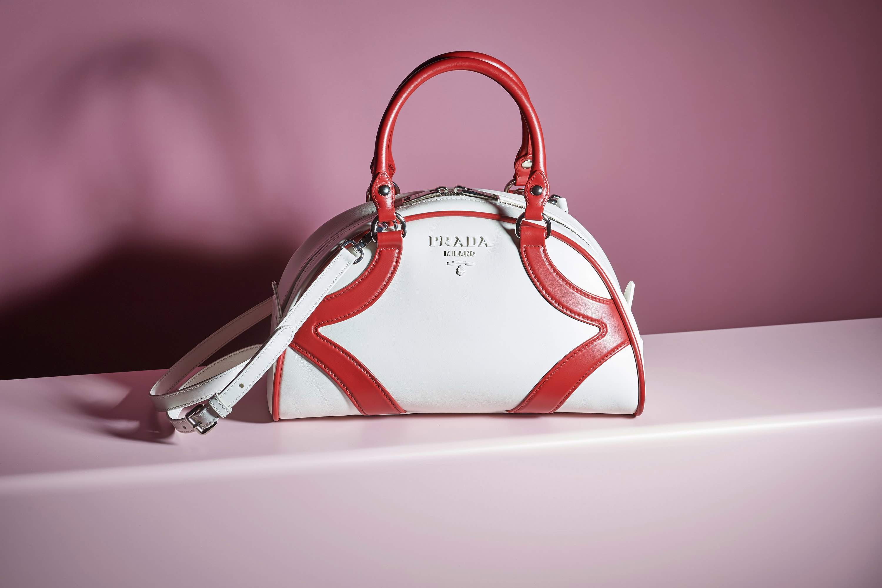 Prada red and white bowling bag resort 2020 collection