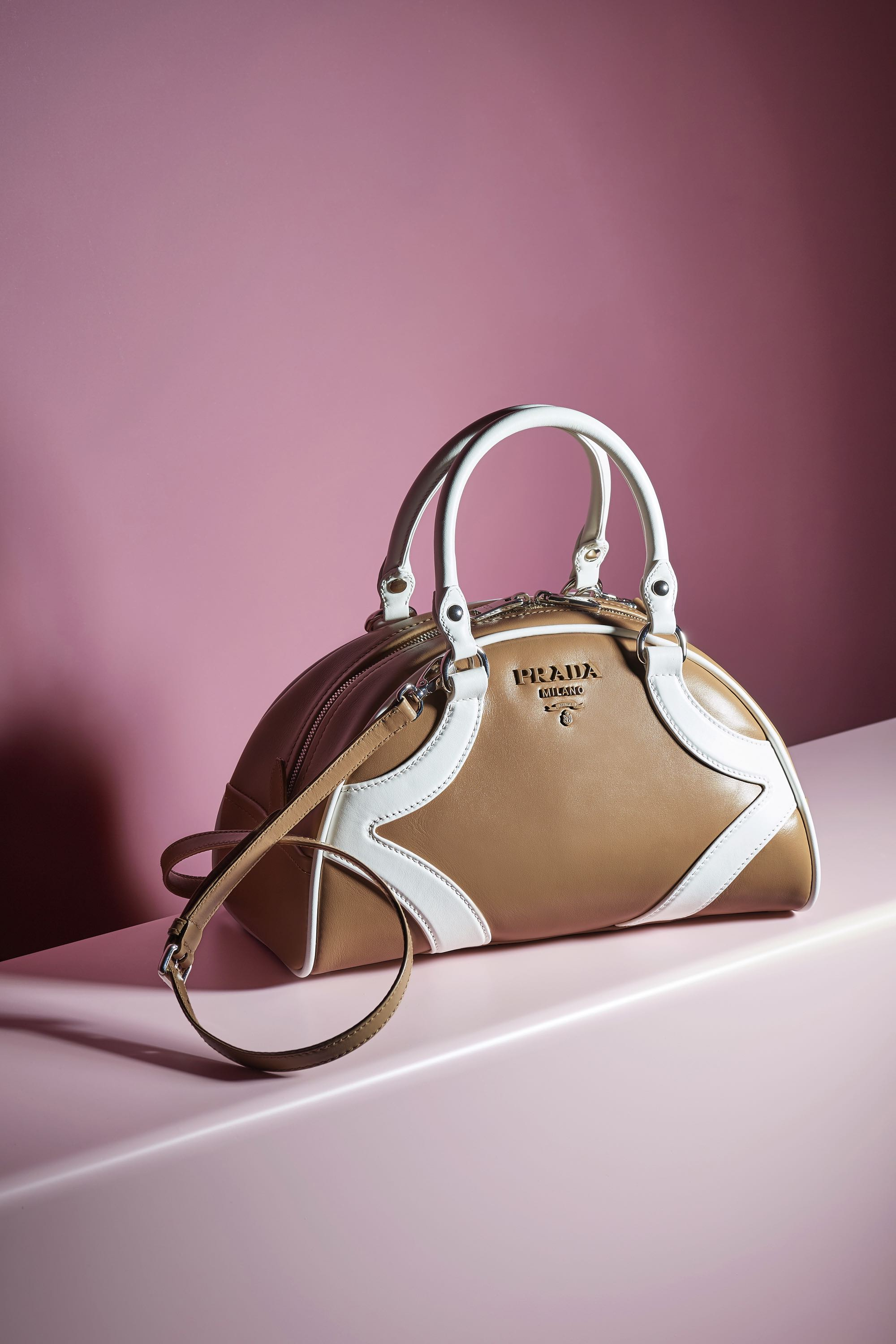 tan and white prada bowling bag resort 2020 collection