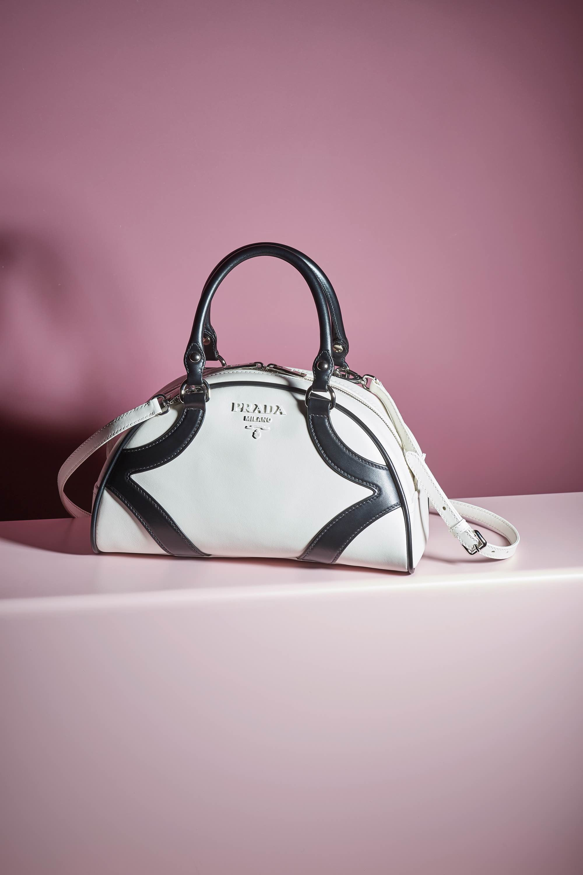 black and white Prada bowling bag resort 2020 collection