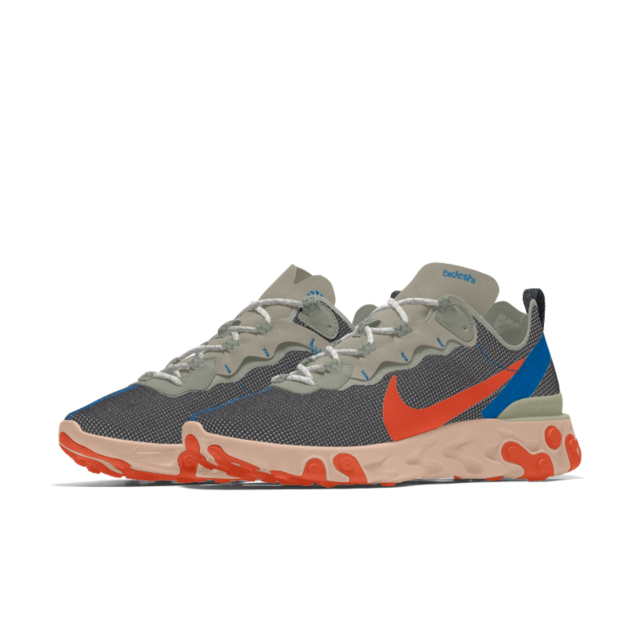 Salwa Rahman Nike React Element 55 trainer side on