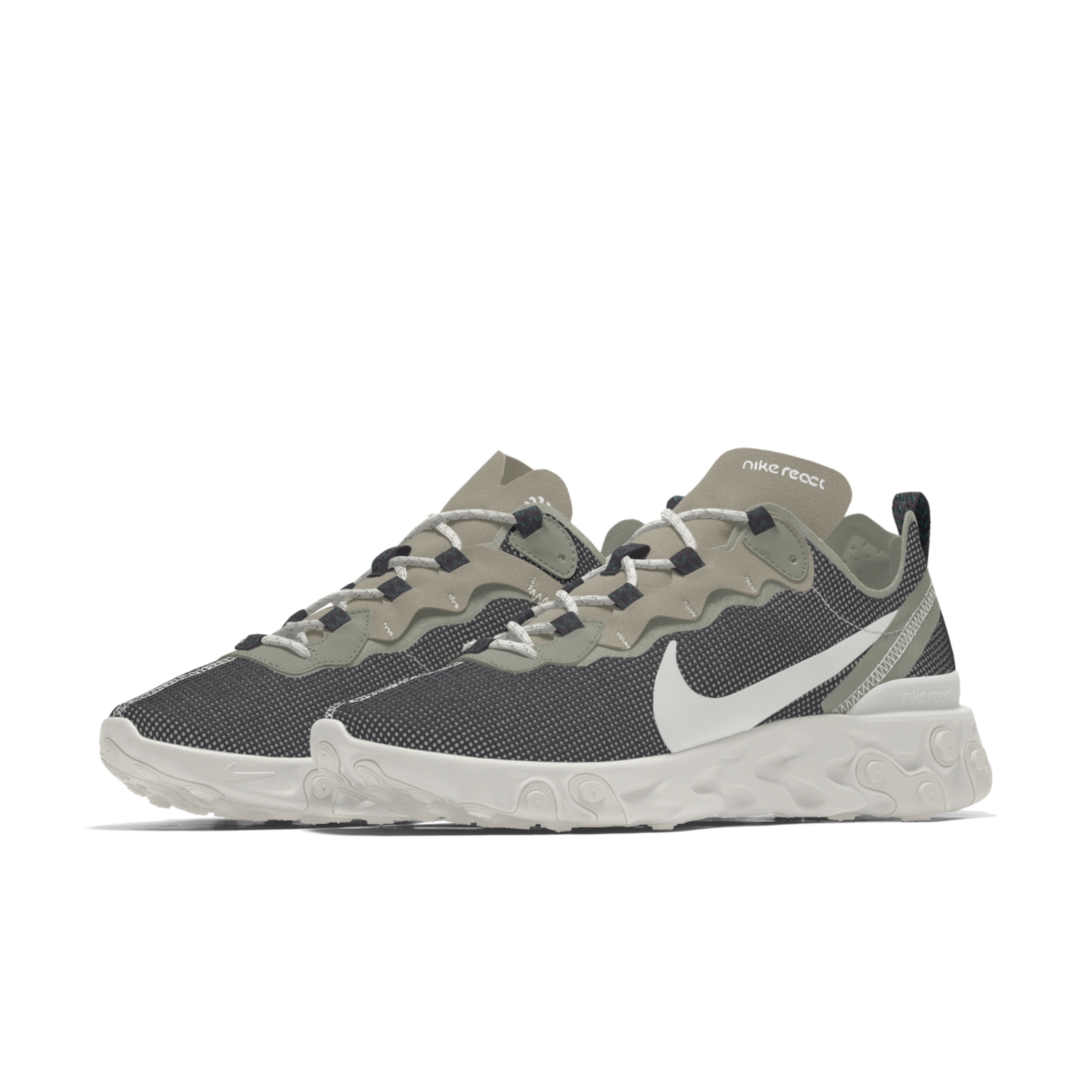 Bemi Shaw Nike React Element 55 trainer side on