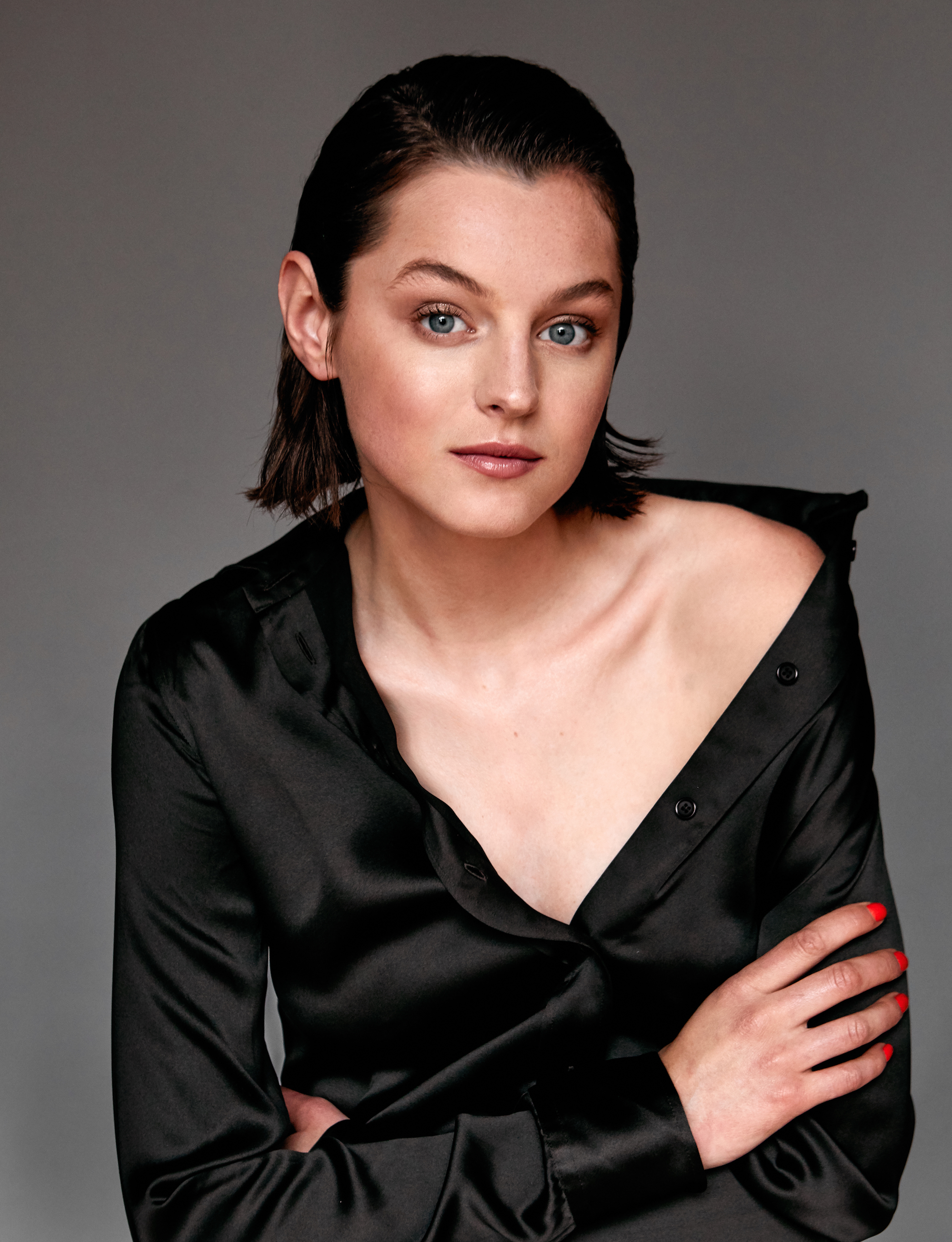 Actress Emma Corrin for Wonderland Summer 19 issue black shirt