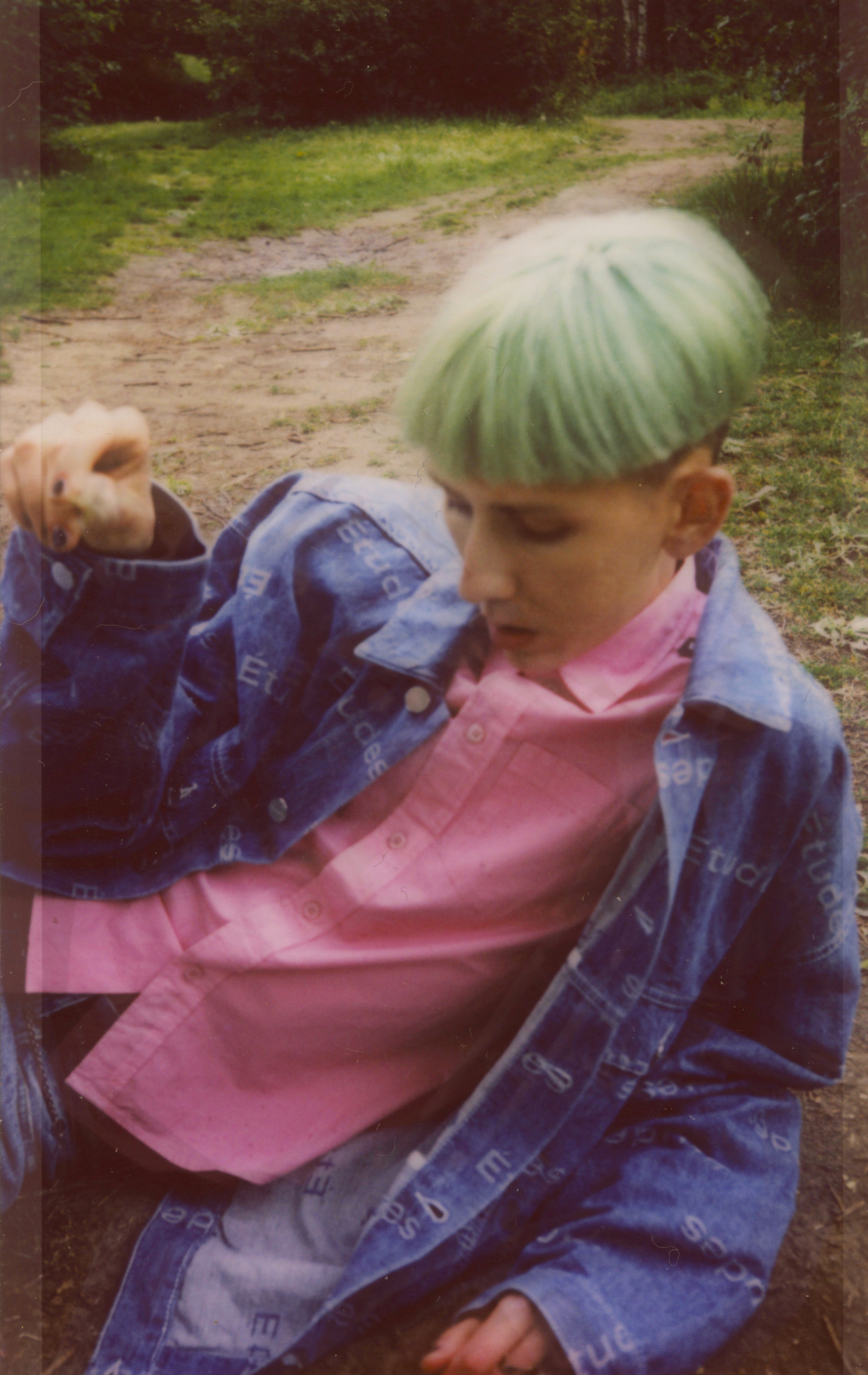 Outsider fashion editorial green hair