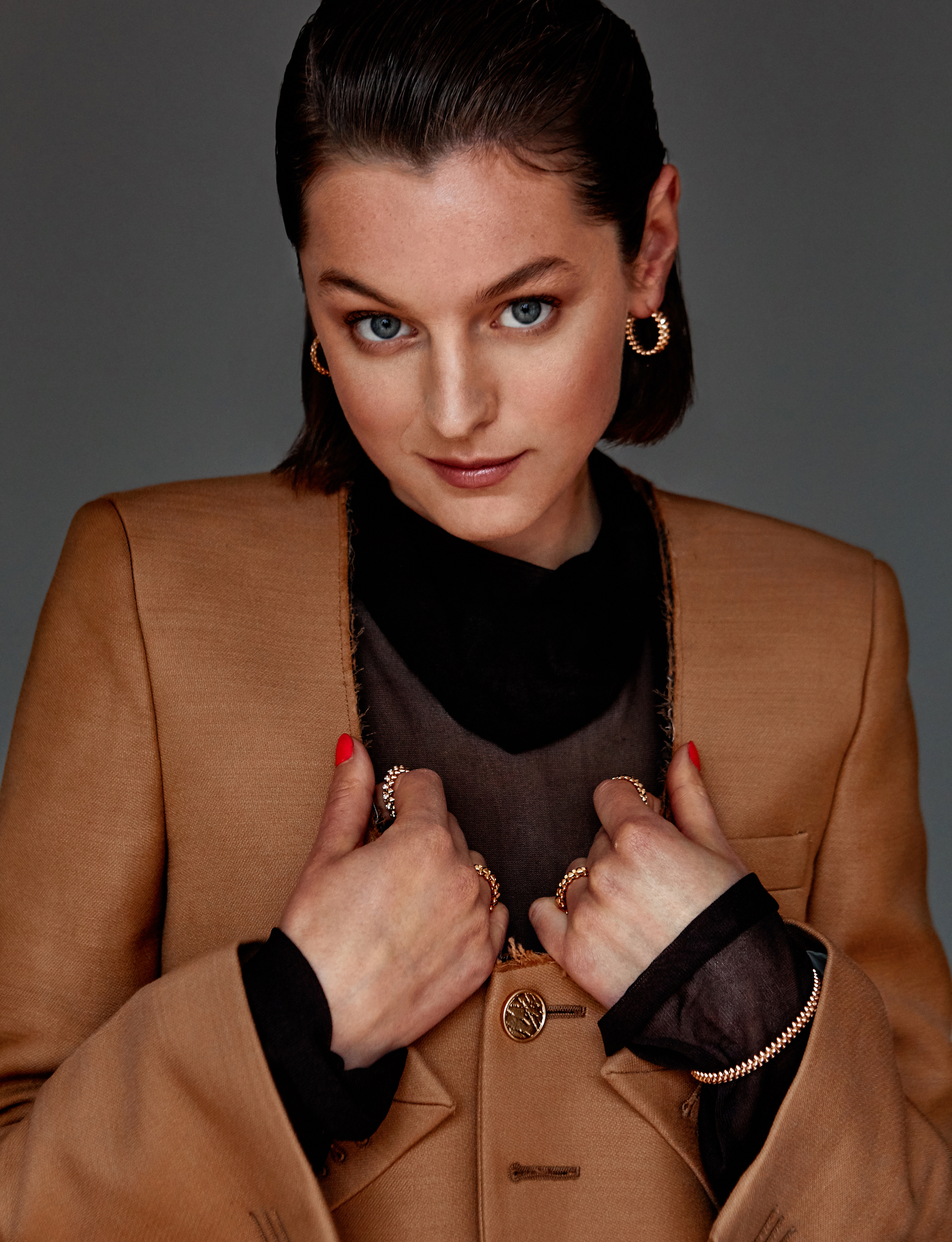 Actress Emma Corrin for Wonderland Summer 19 issue brown coat