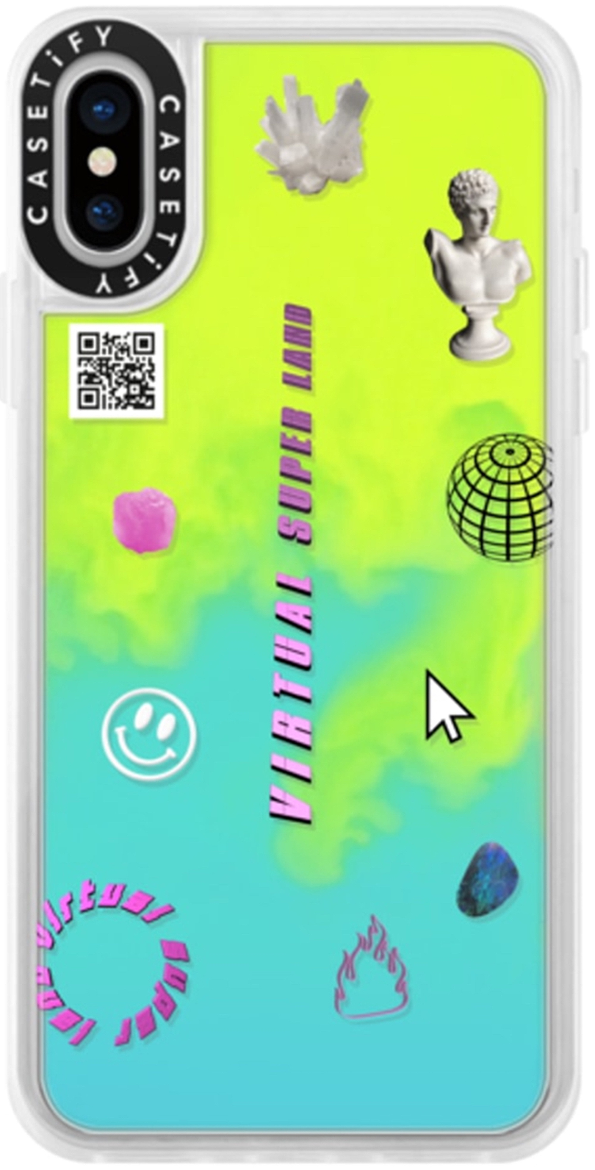 Wonderland commercial virtual super reality x CASETiFY phone case neon green and blue