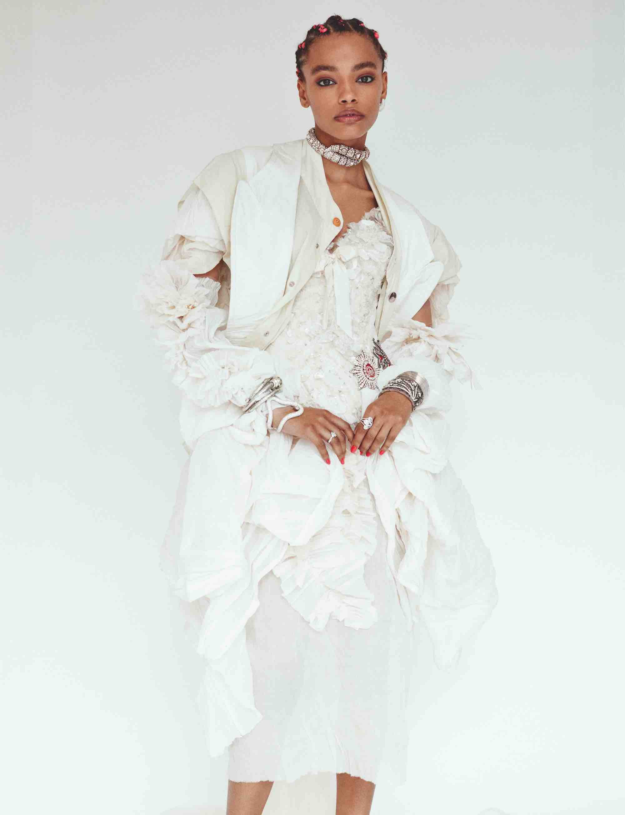 Heaven Phase 1 fashion editorial for Wonderland Summer 19 issue white outfit