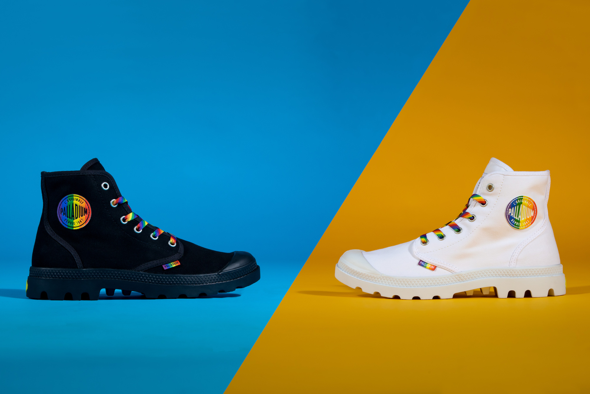Palladium Pride collection white and black boots