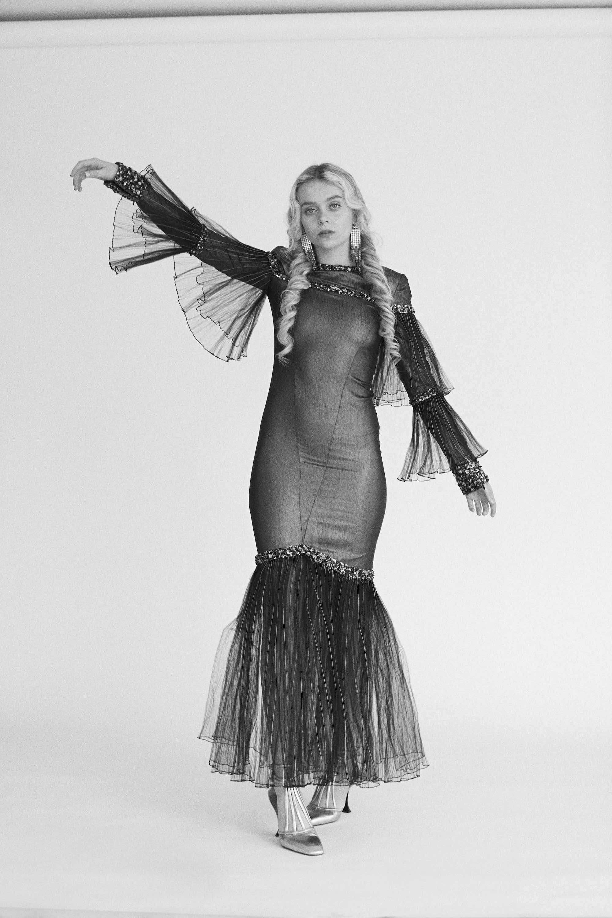 Betty Belle wearing Chanel Pre-Fall 2019 in Summer 2019 issue in fishtail dress