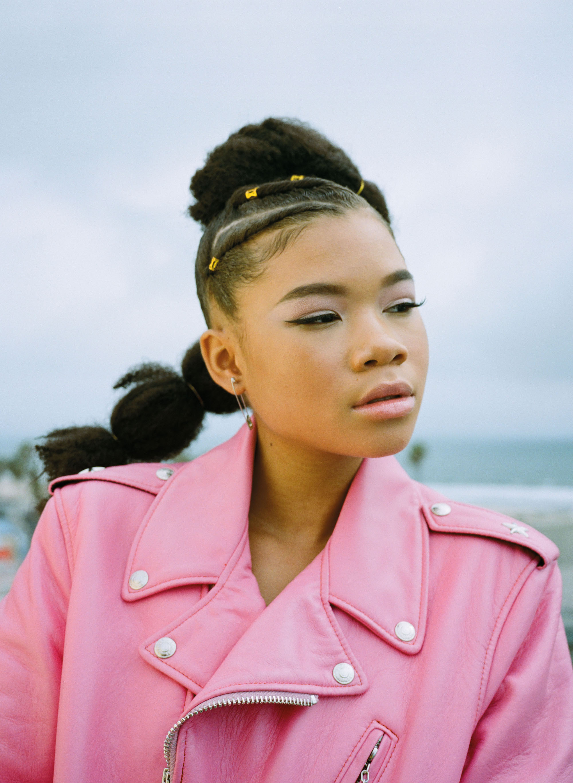 Actress Storm Reid in Summer 19 issue of Wonderland pink jacket