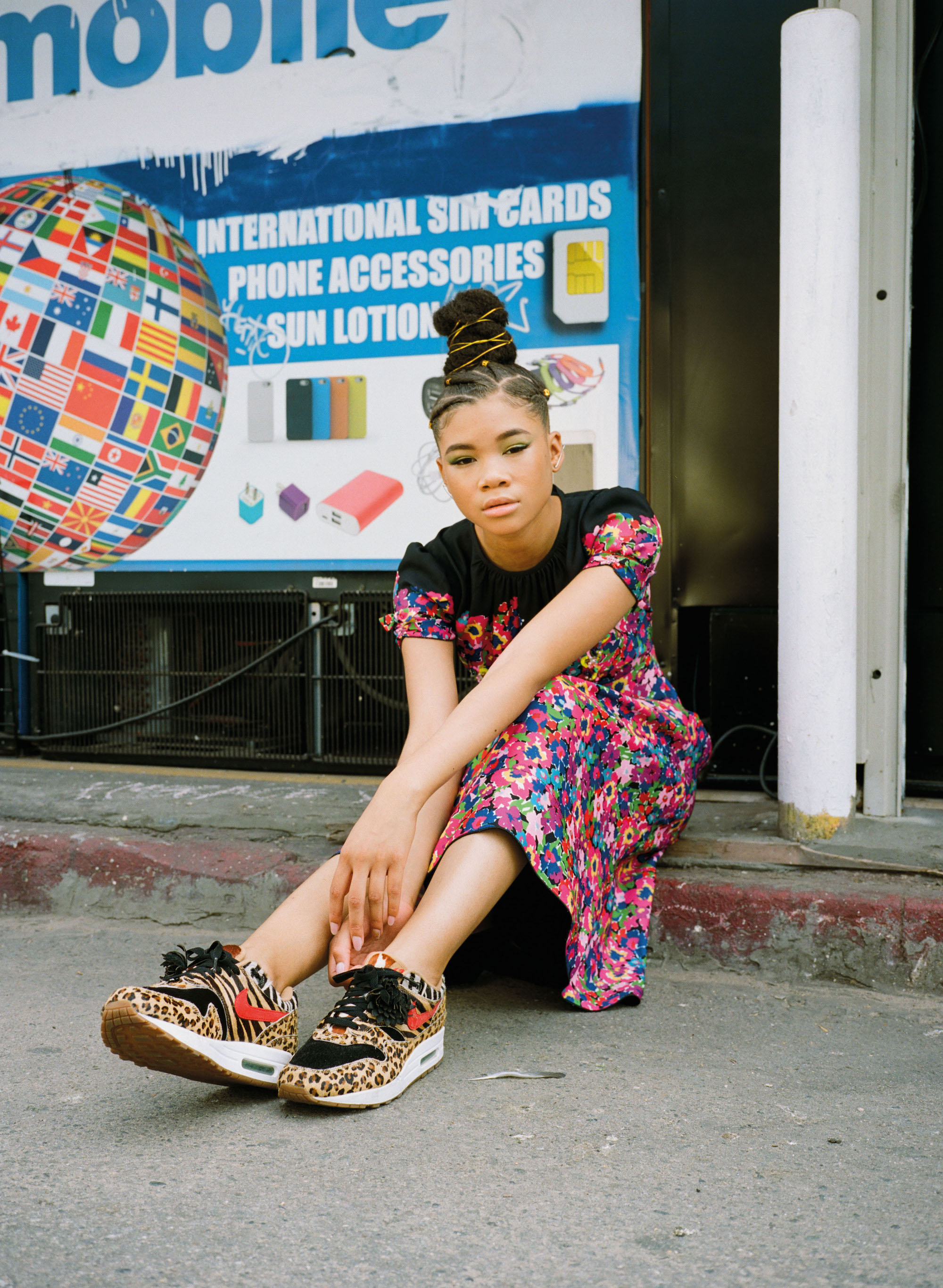 Actress Storm Reid in Summer 19 issue of Wonderland floral dress