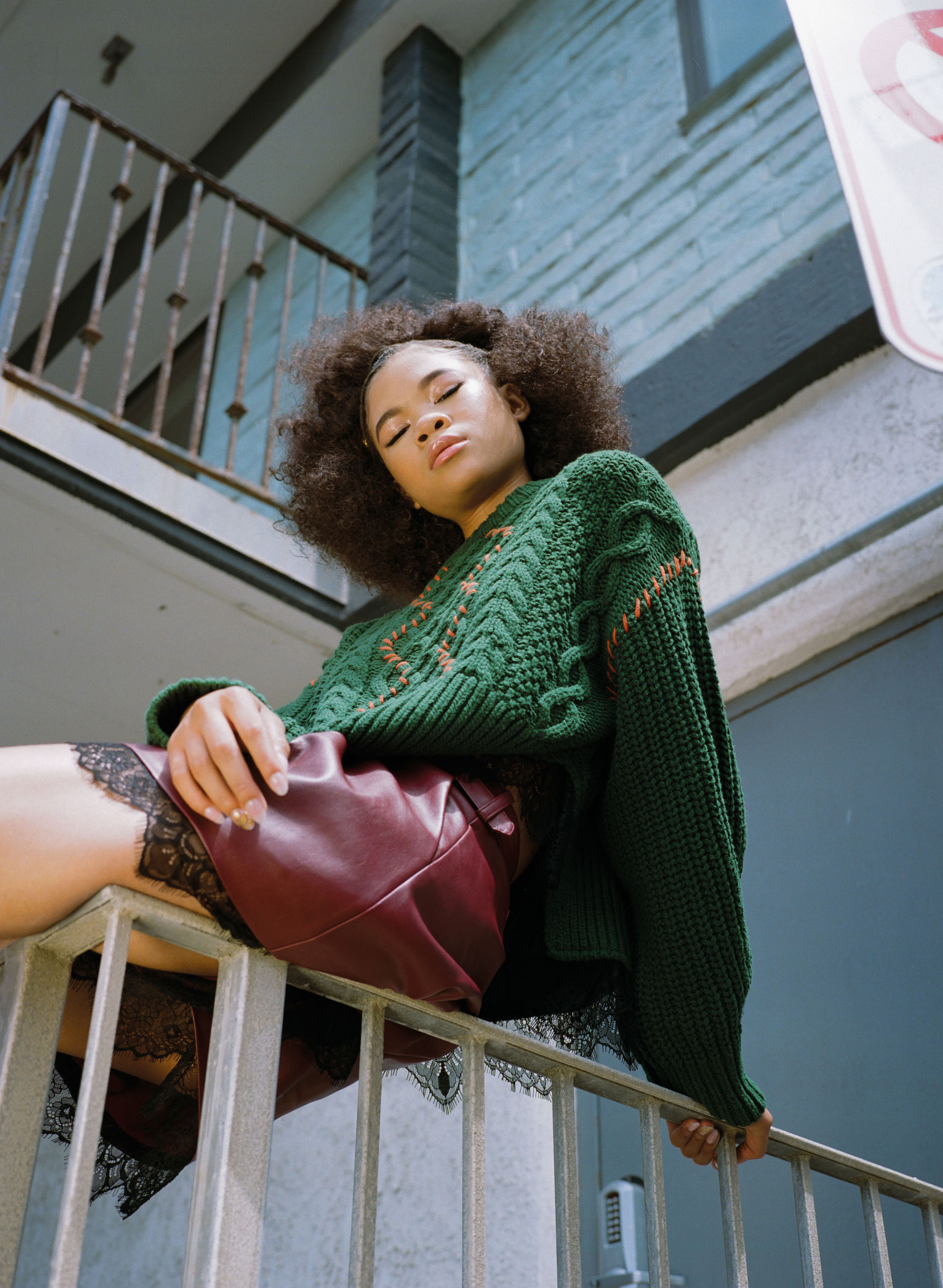 Actress Storm Reid in Summer 19 issue of Wonderland green top