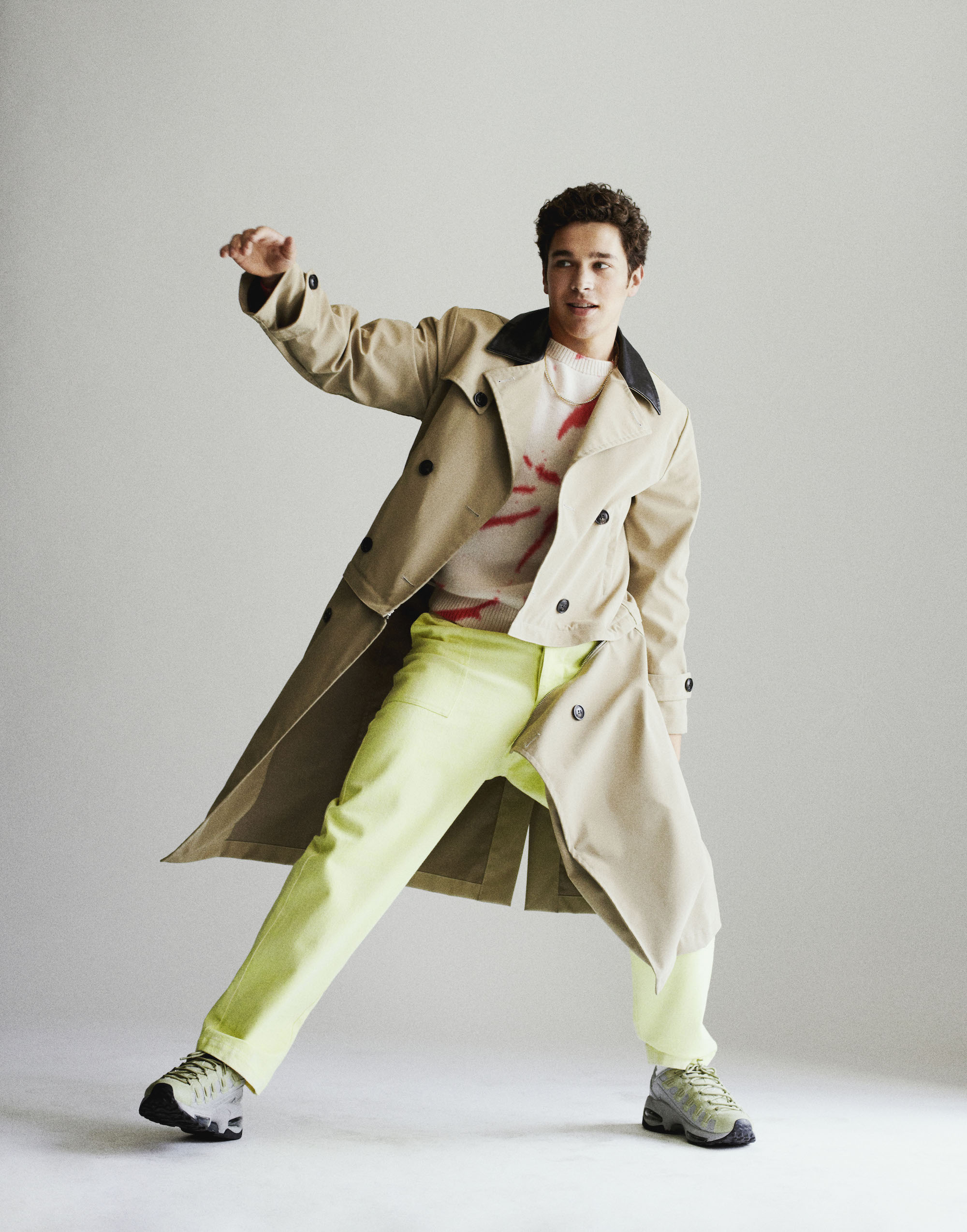 Austin Mahone interview in Summer 19 issue of Wonderland trench coat
