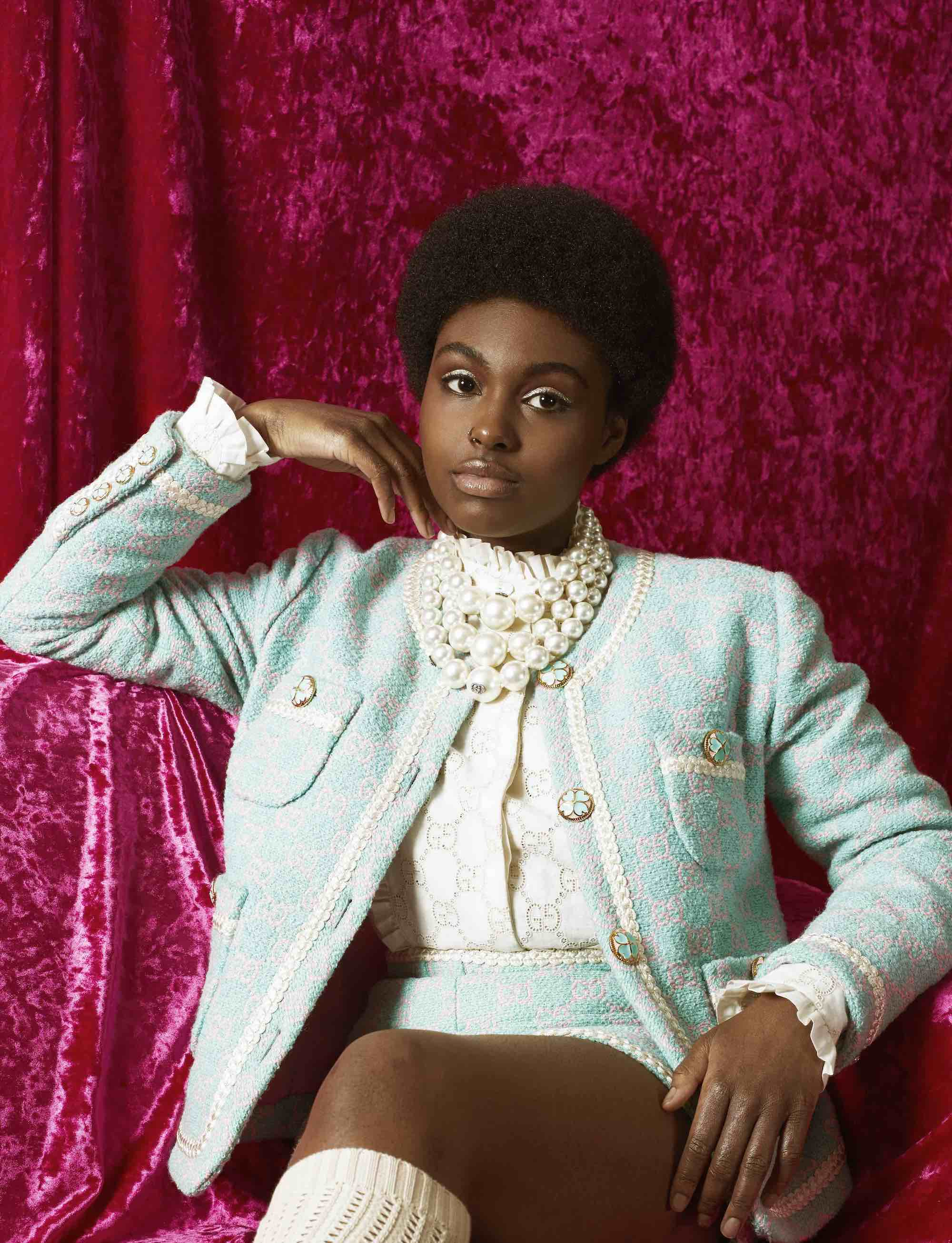 Tiana Major9 wearing Gucci Pre-Fall 2019 for Summer 2019 issue sitting down