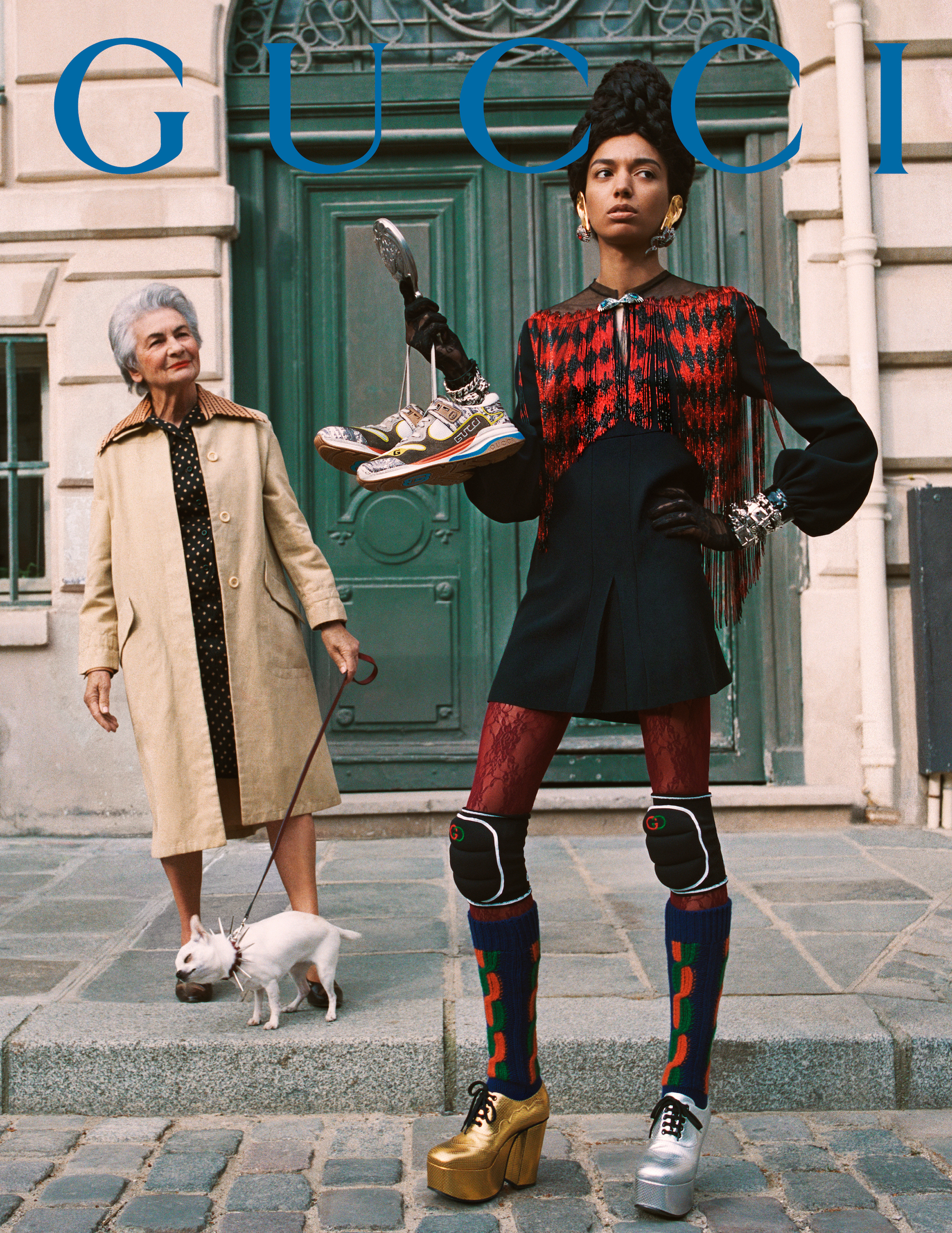 Gucci AW19 campaign shot by Glen Luchford red outfit