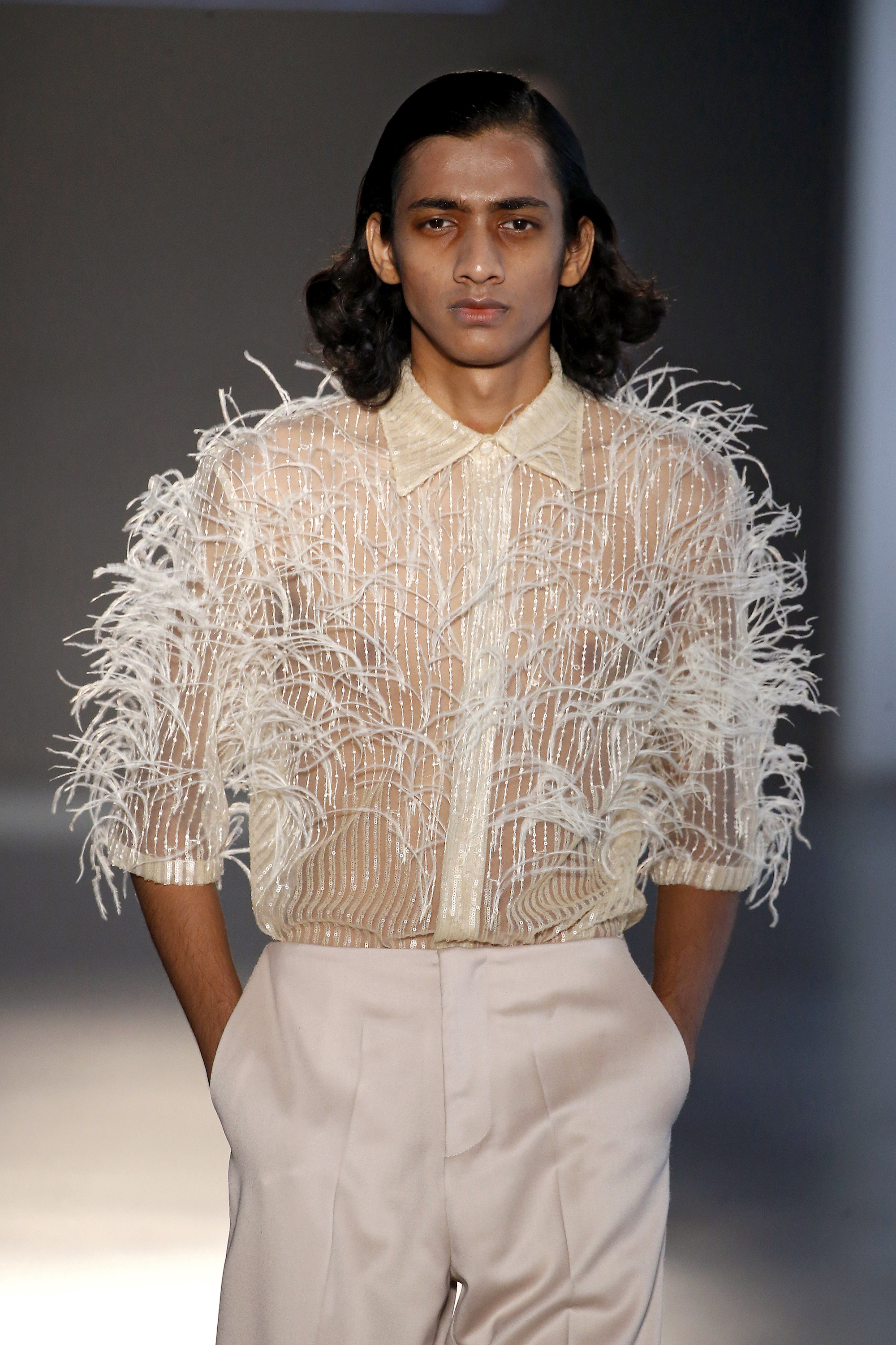 Mans Concept & Menswear at Barcelona Fashion Week fluffy top