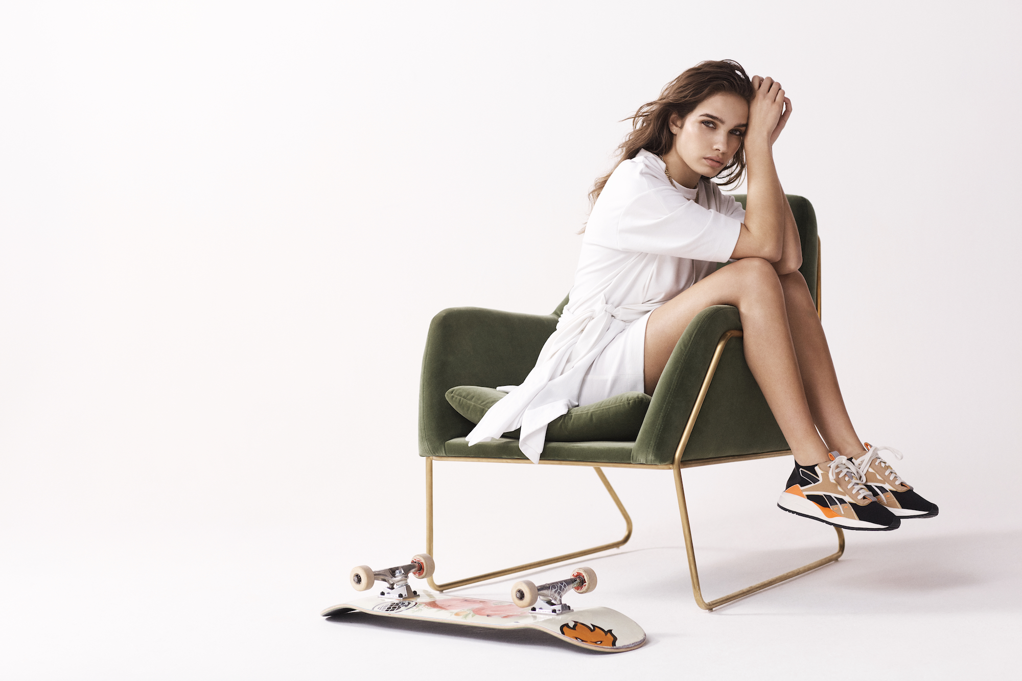 Wonderland editorial cover Hana Cross Victoria Beckham skateboard