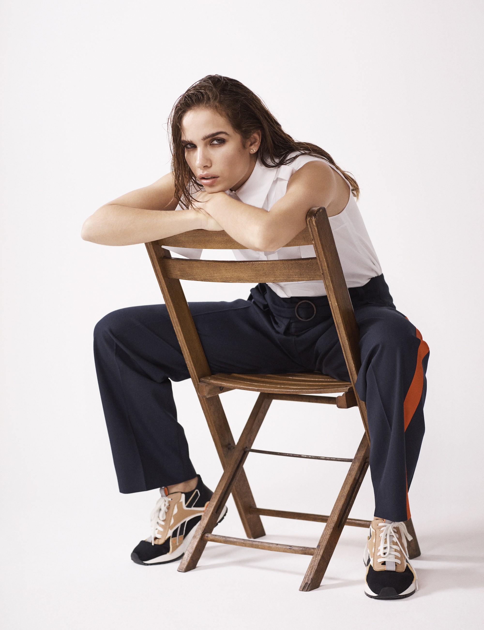 Wonderland editorial cover Hana Cross Victoria Beckham chair