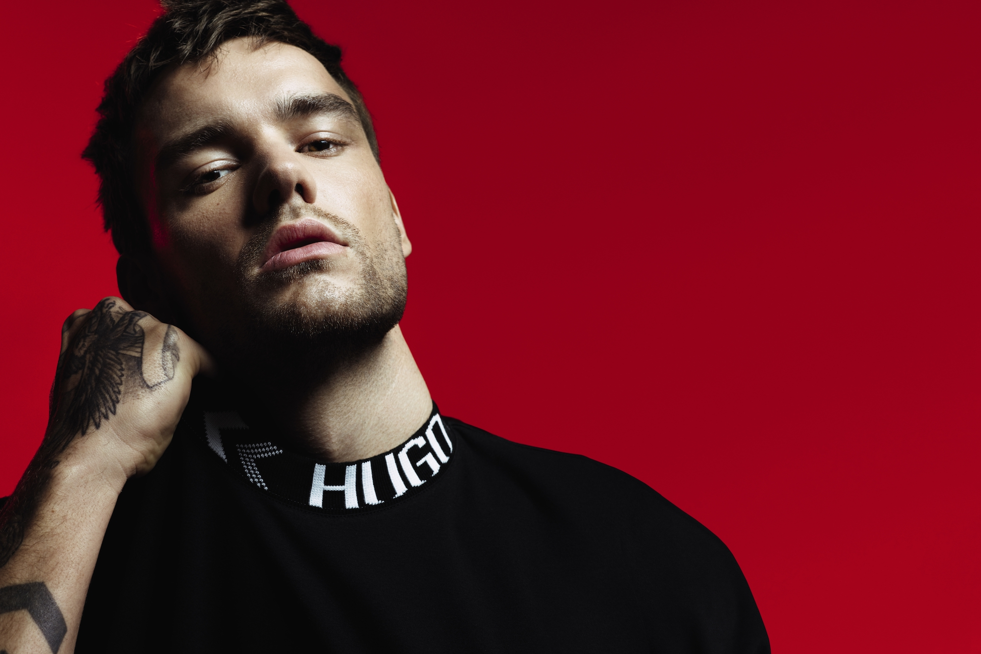 Liam Payne x HUGO campaign imagery black top